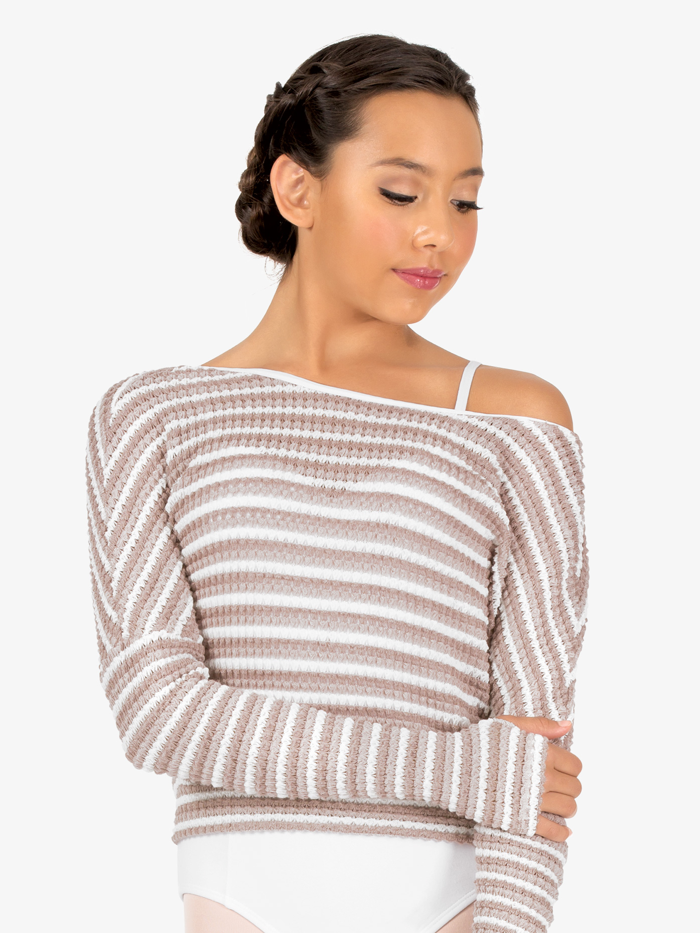 Natalie Womens Striped Knit Warm Up Long Sleeve Sweater N9101
