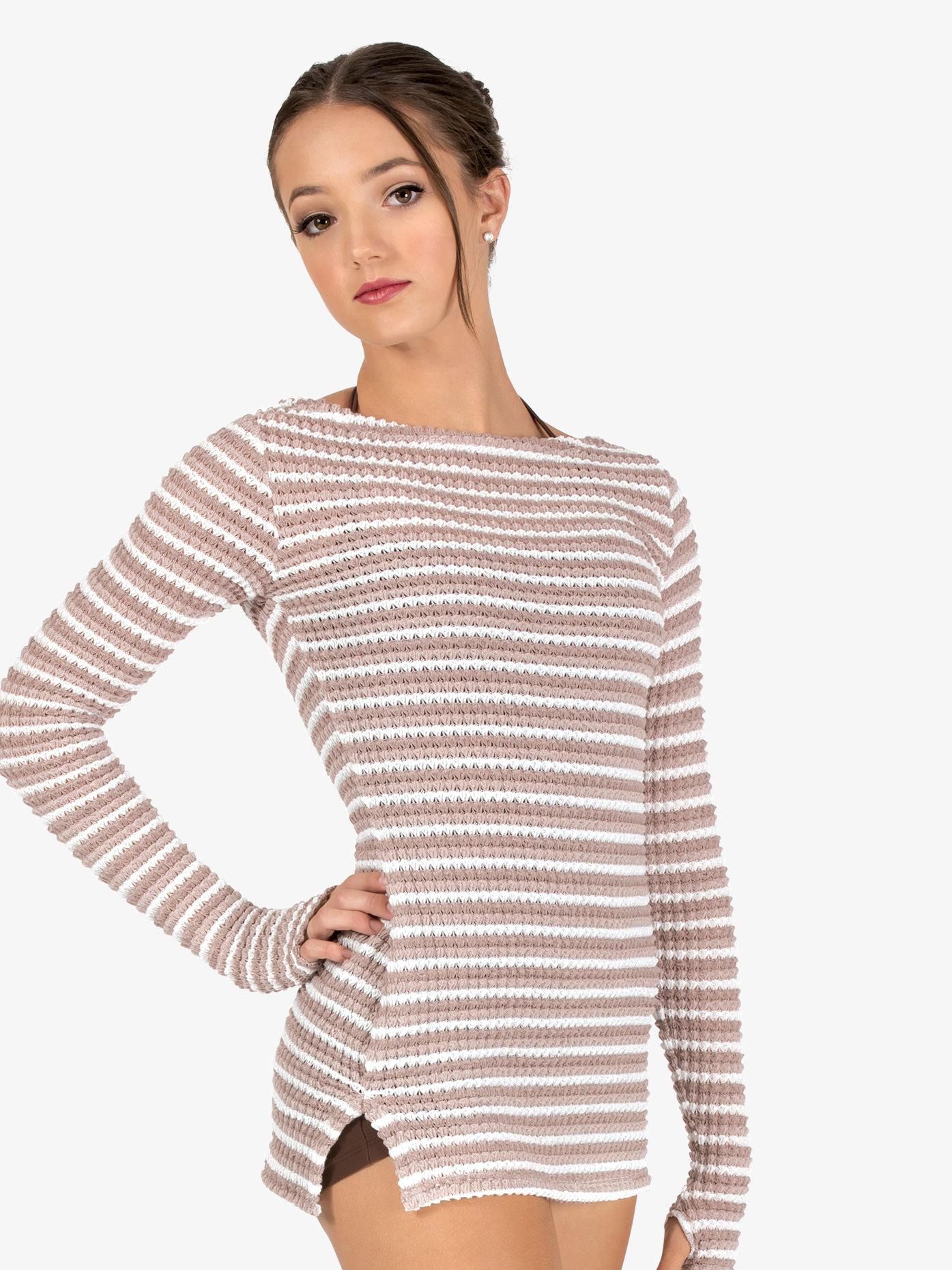Natalie Womens Striped Knit Warm Up Long Sleeve Tunic N9102