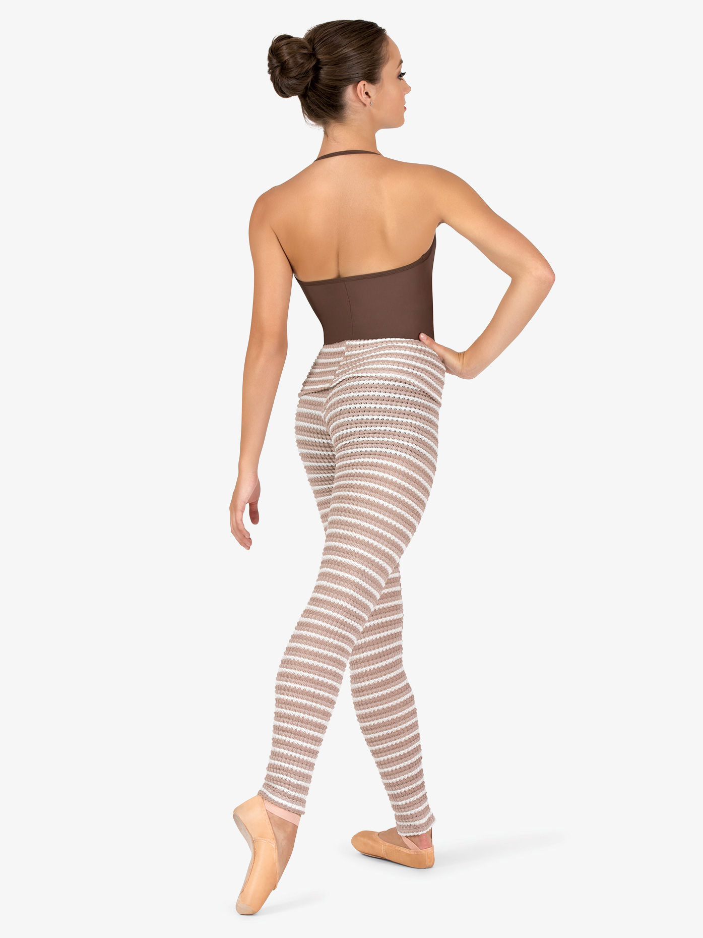 Natalie Womens Striped Knit Warm Up Roll Down Leggings N9104