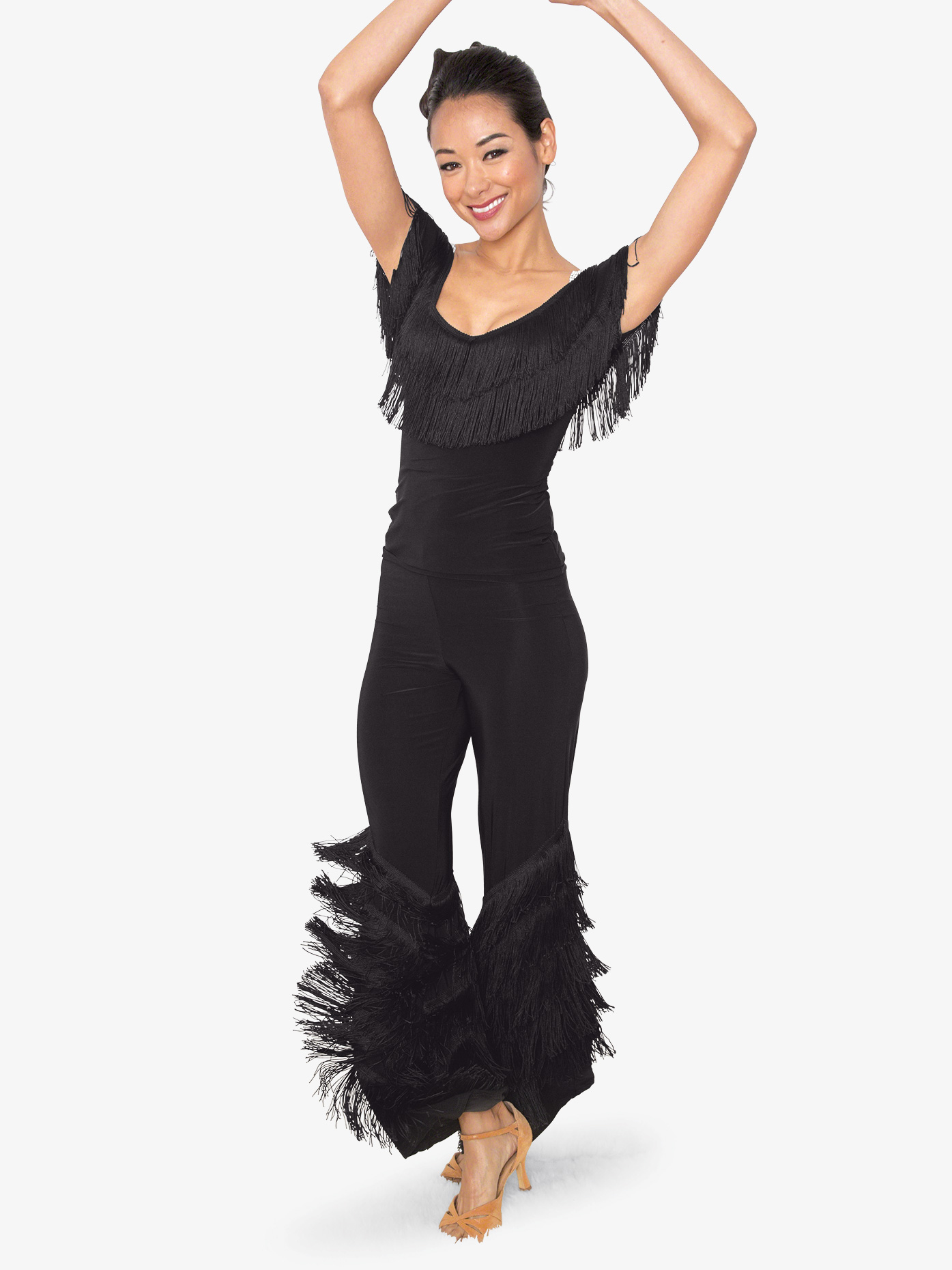 Dance America Womens Diagonal Fringe Ballroom Dance Pants P804
