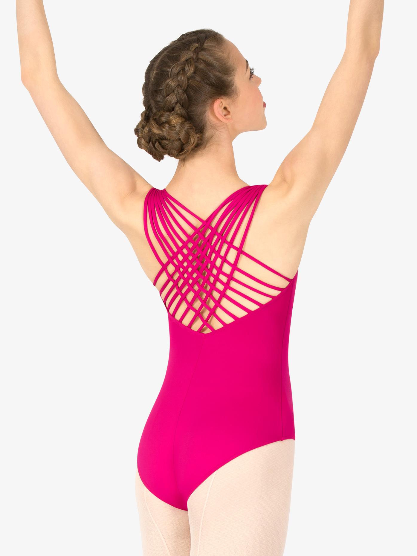 Natalie Couture Womens Weave Strappy Back Tank Leotard P830