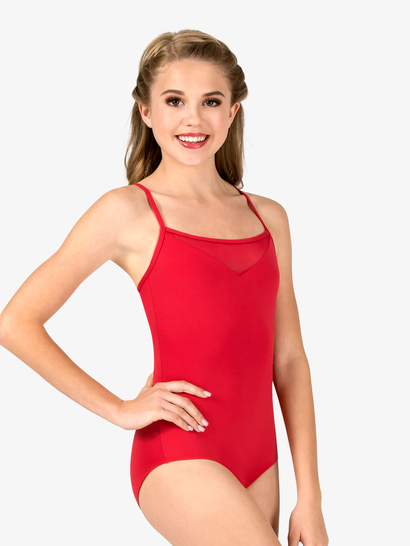 Natalie Couture Womens V-Front Mesh Insert Camisole Leotard P882