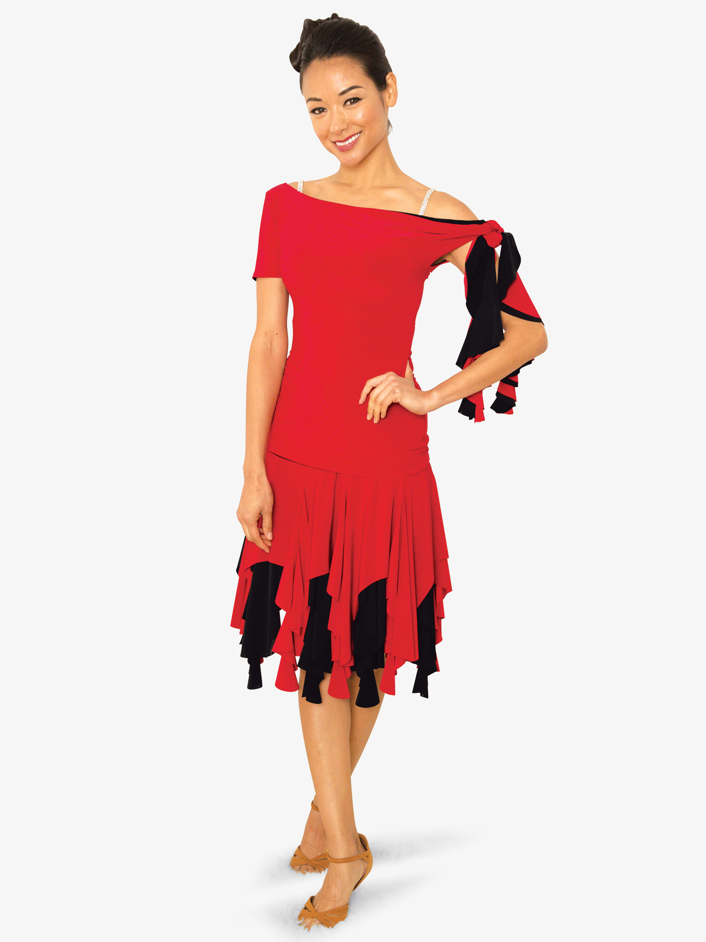Dance America Womens Reversible Cascade Ballroom Dance Skirt S813