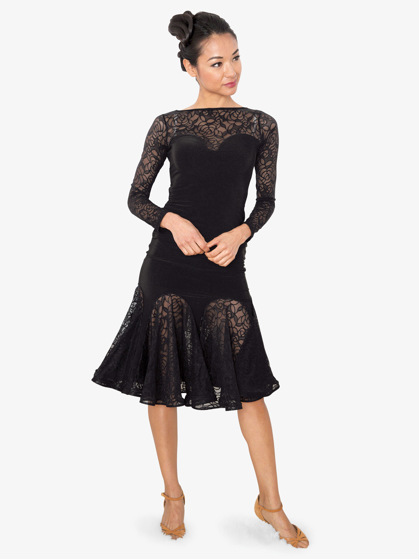 Dance America Womens Short Lace Godet Ballroom Dance Skirt S814