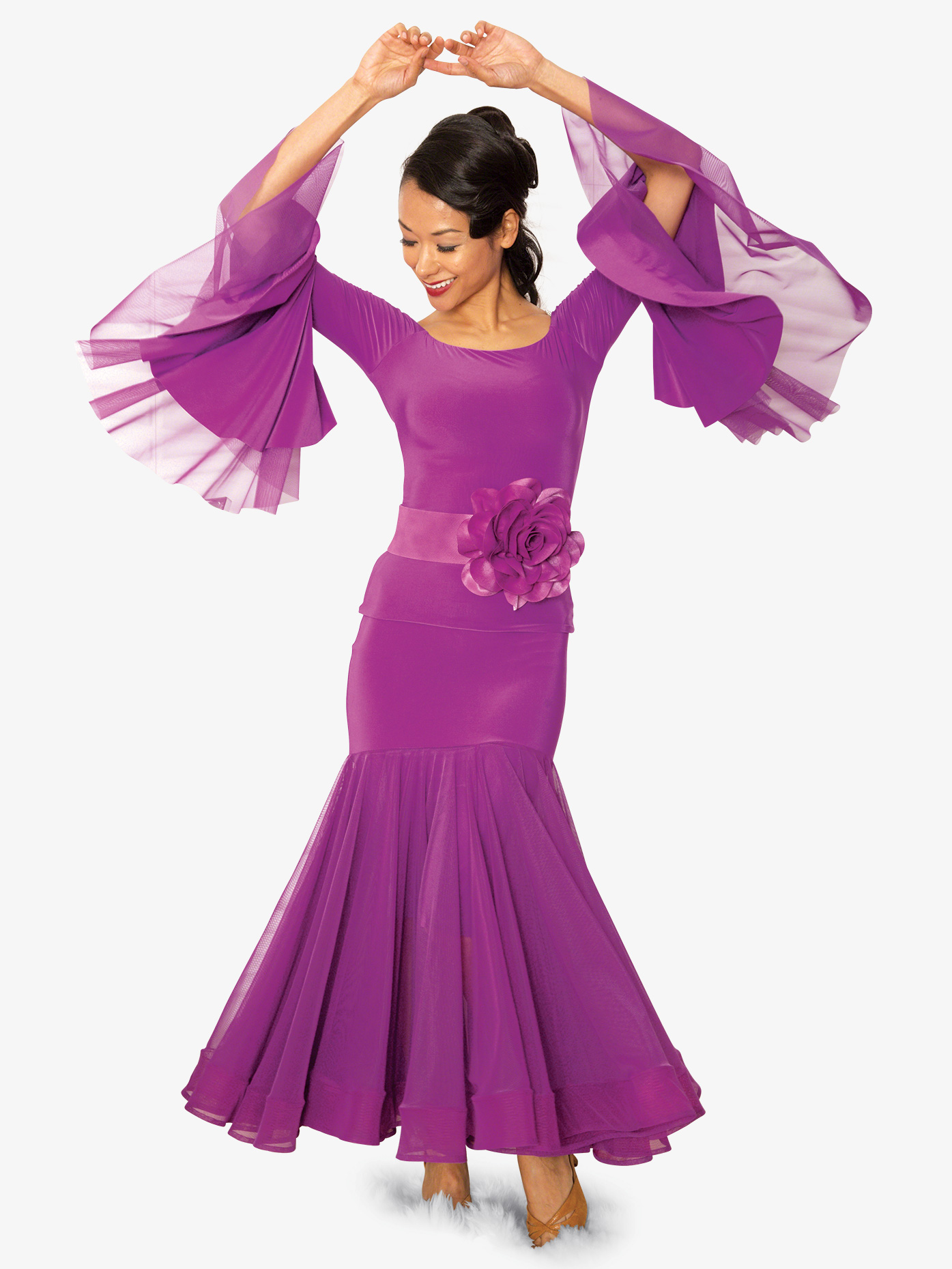 Dance America Womens Long Nimbus Ballroom Dance Skirt S815