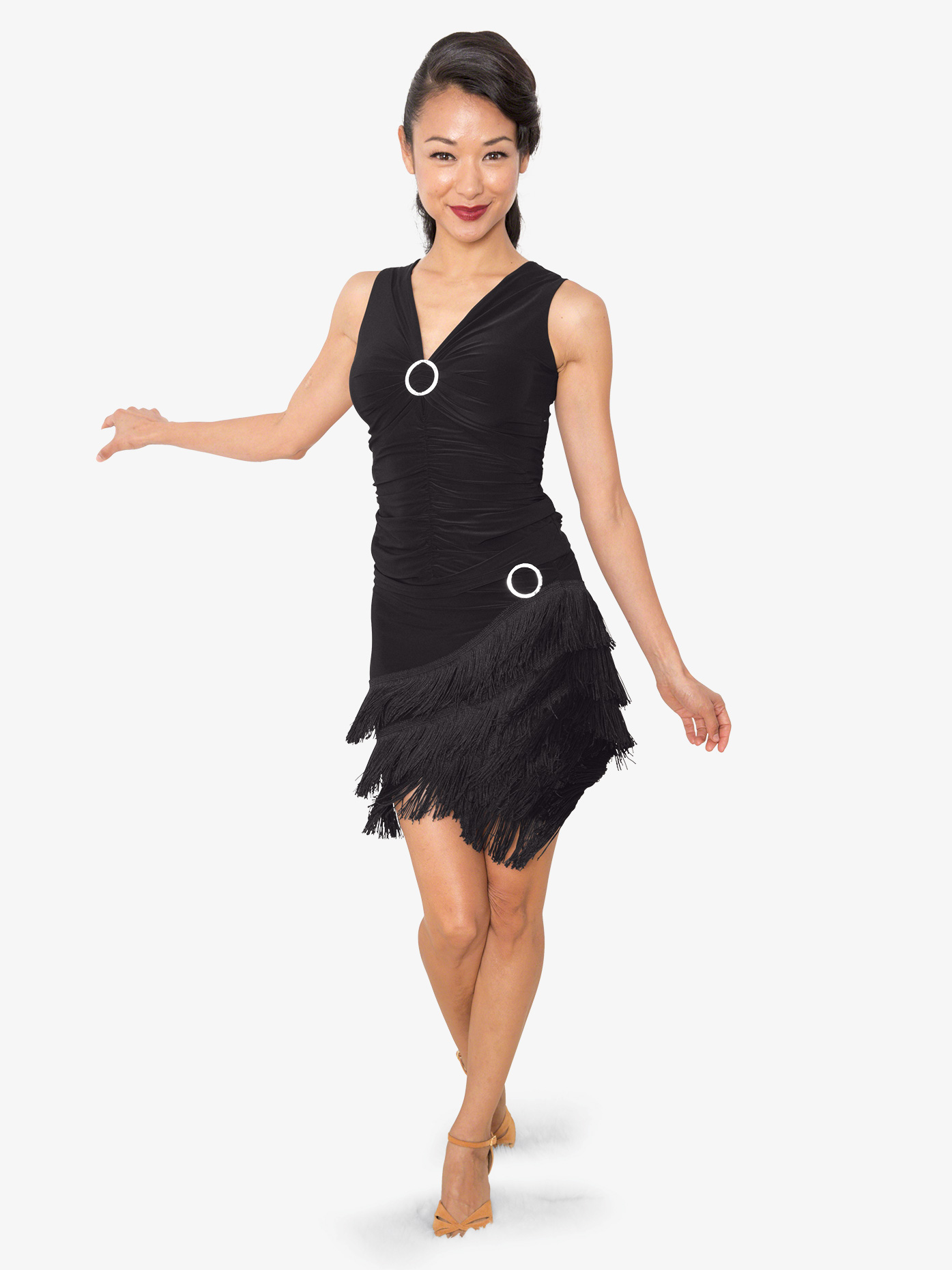 Dance America Womens Short Fringe Ballroom Dance Skirt S818
