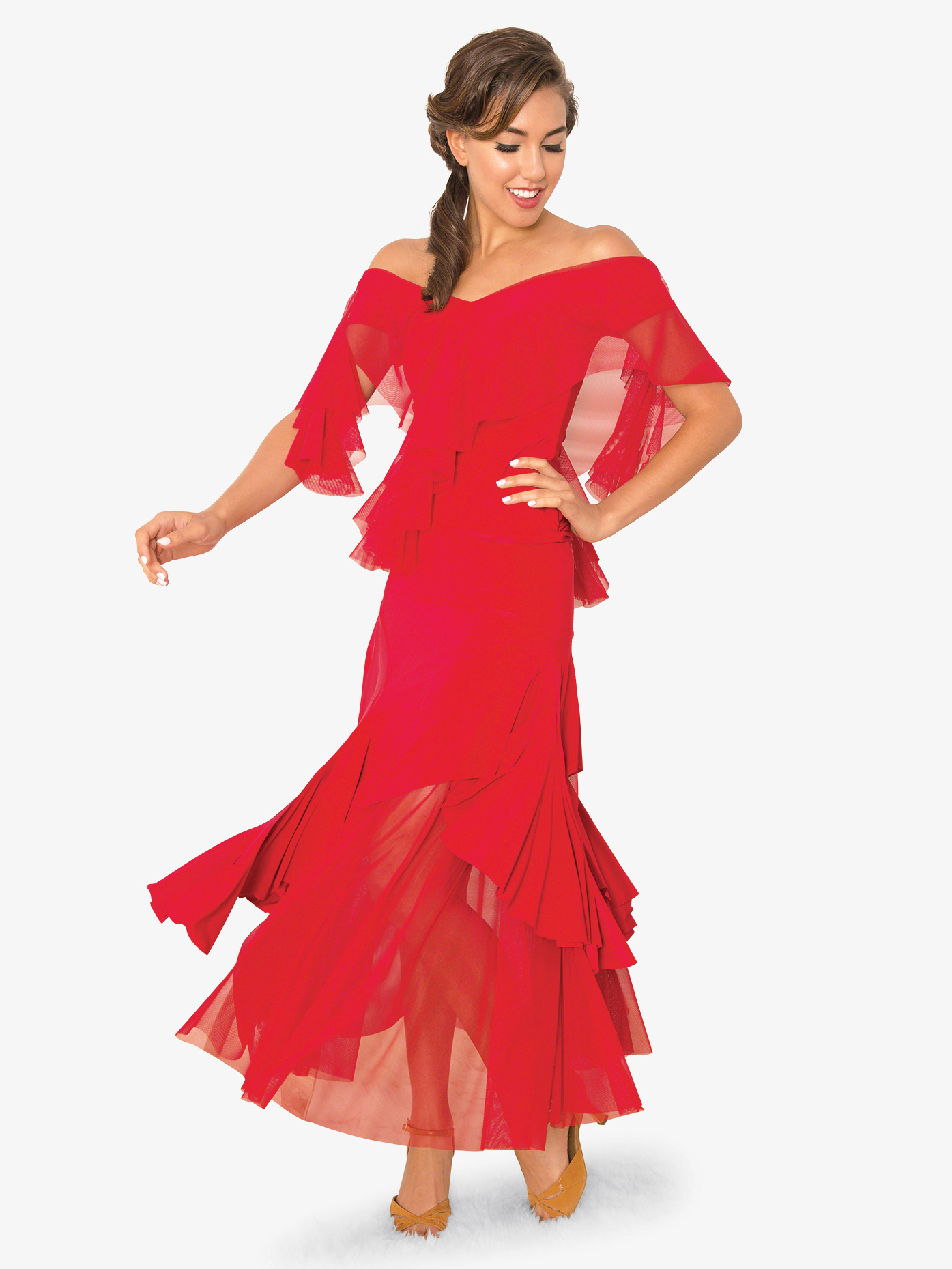 Dance America Womens Ruffled Basque Mesh Ballroom Dance Skirt S819