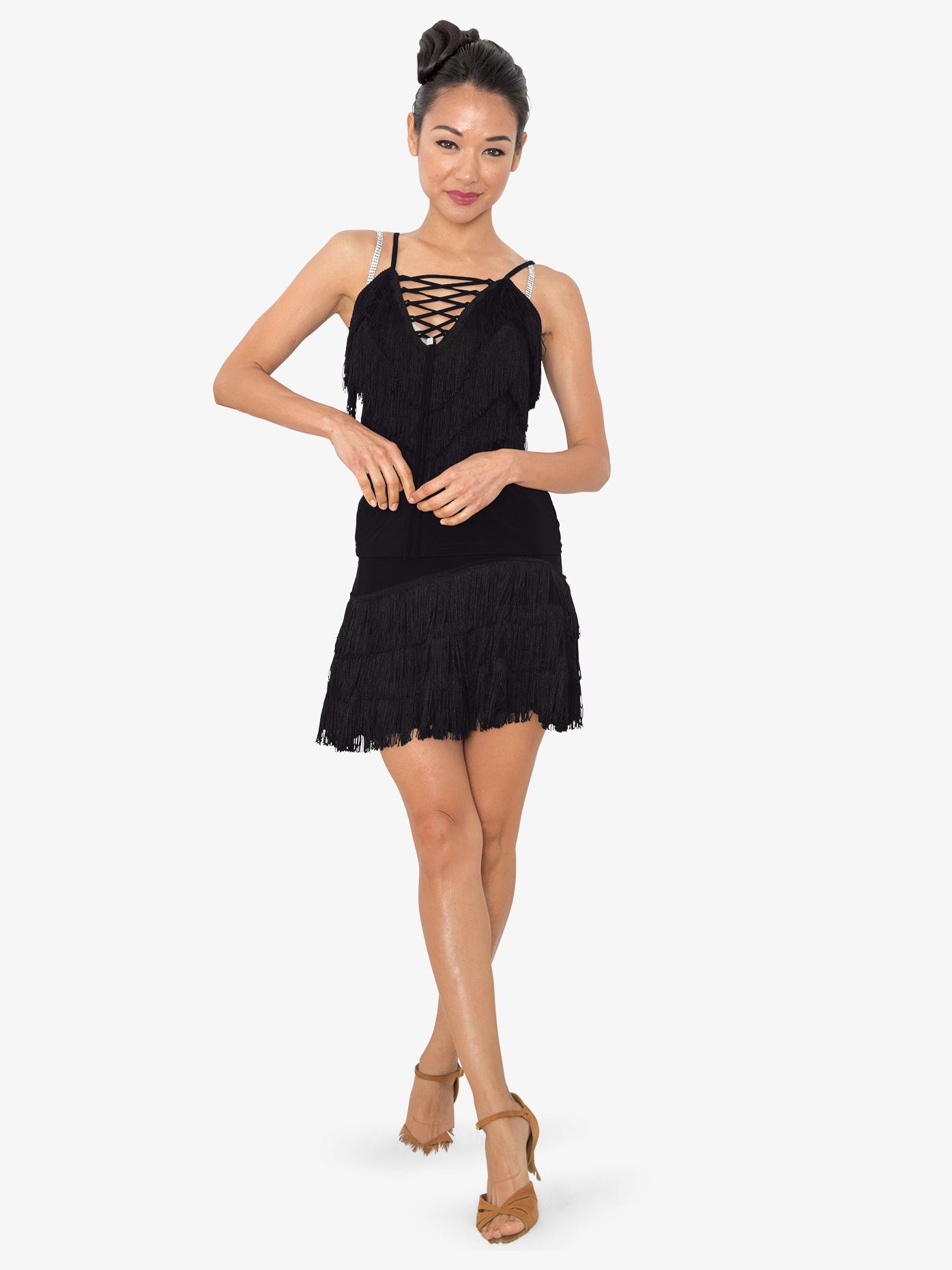 Dance America Womens Frangia Short Fringe Ballroom Dance Skirt S824