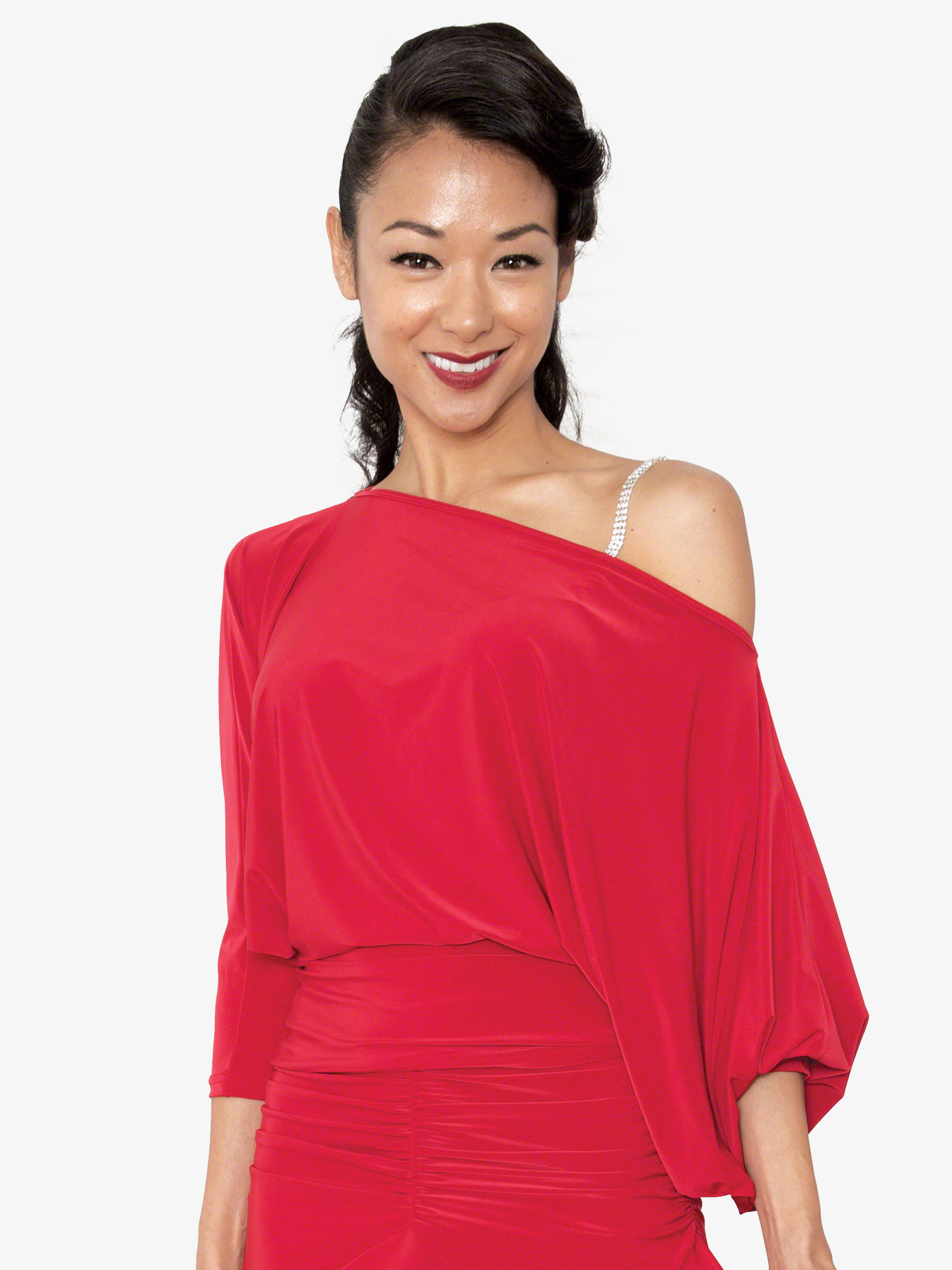 Dance America Womens Off-The-Shoulder Ballroom Dance Top T802