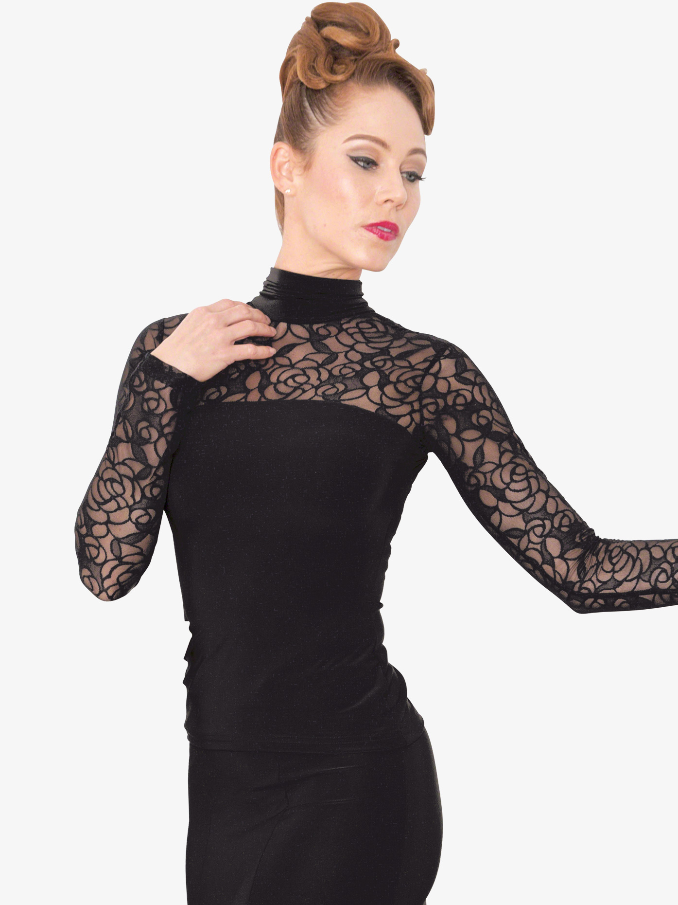 Dance America Womens Lace Long Sleeve Ballroom Dance Top T808