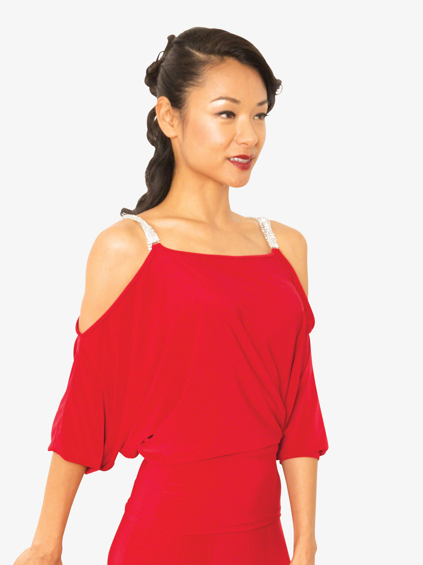Dance America Womens Cold Shoulder Dolman Sleeve Ballroom Dance Top T811
