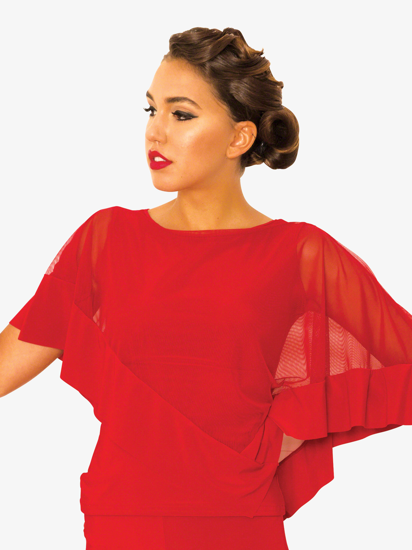Dance America Womens Diagonal Mesh Cape Ballroom Dance Top T812