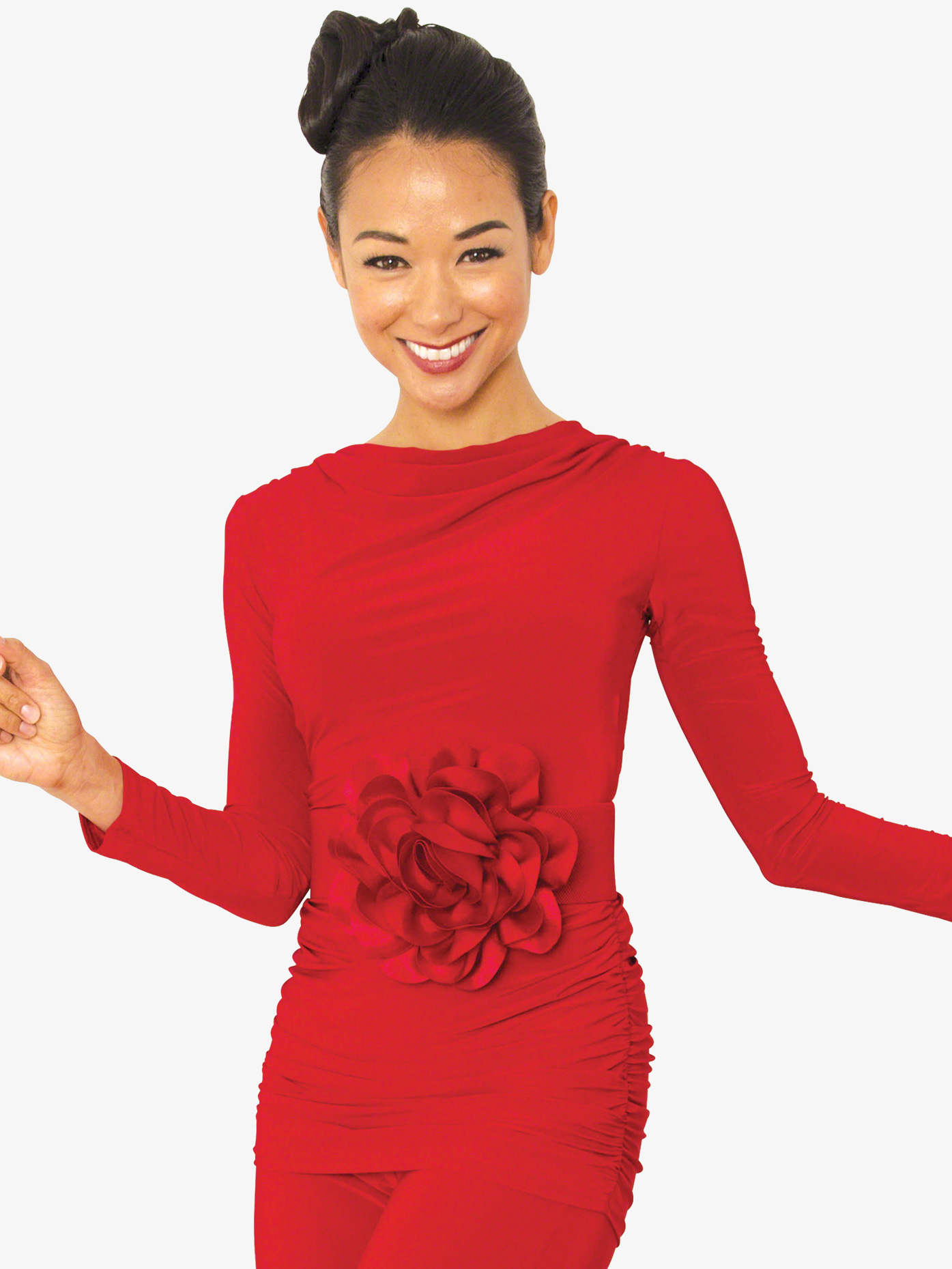 Dance America Womens Cowl Neck Long Sleeve Ballroom Dance Top T814