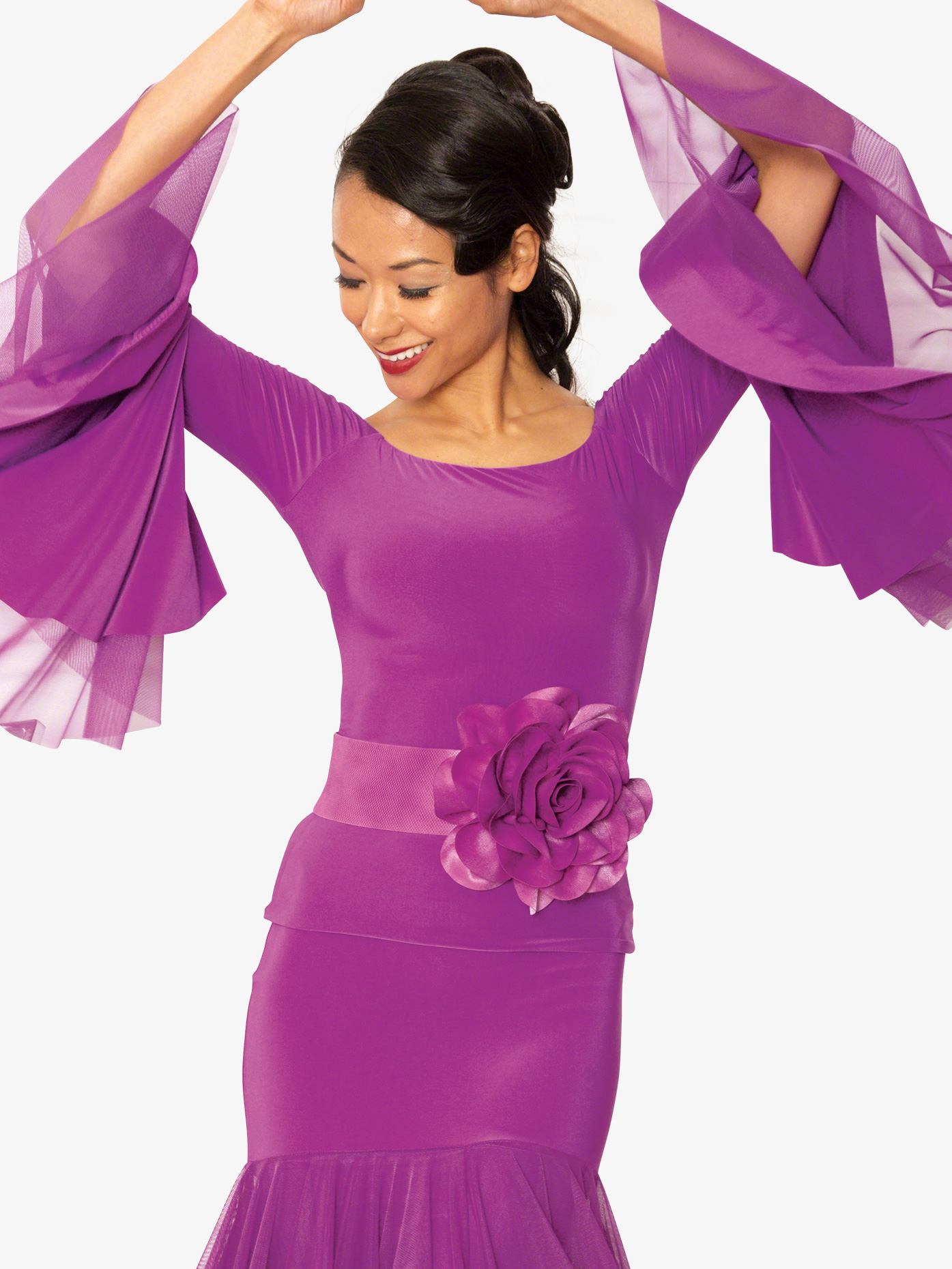 Dance America Womens Off-The-Shoulder Bell Sleeve Ballroom Dance Top T817