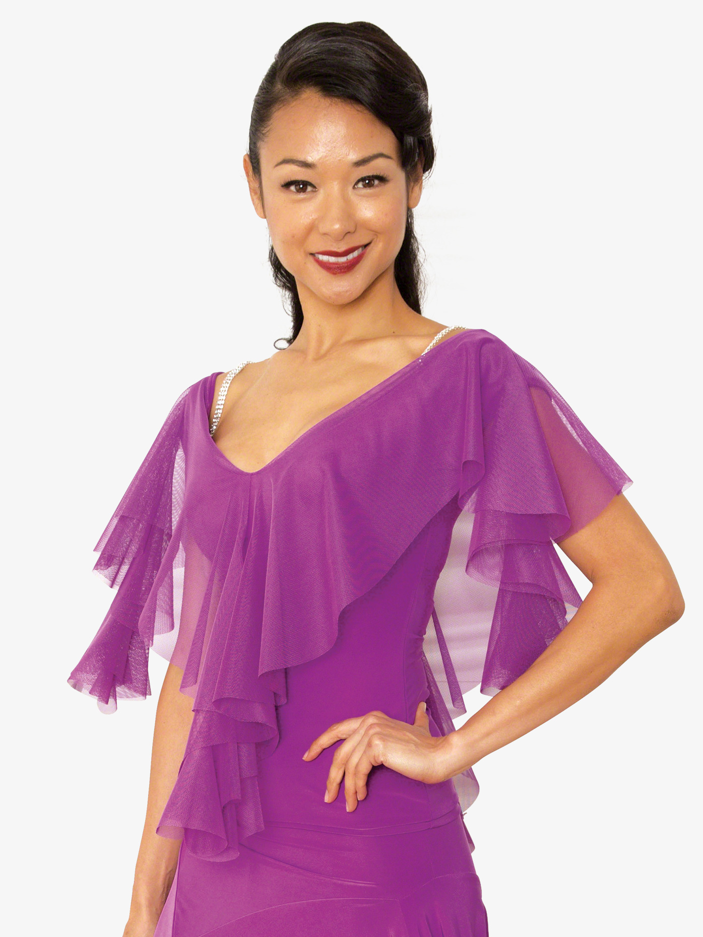 Dance America Womens Cirrus Short Sleeve Ballroom Dance Top T821