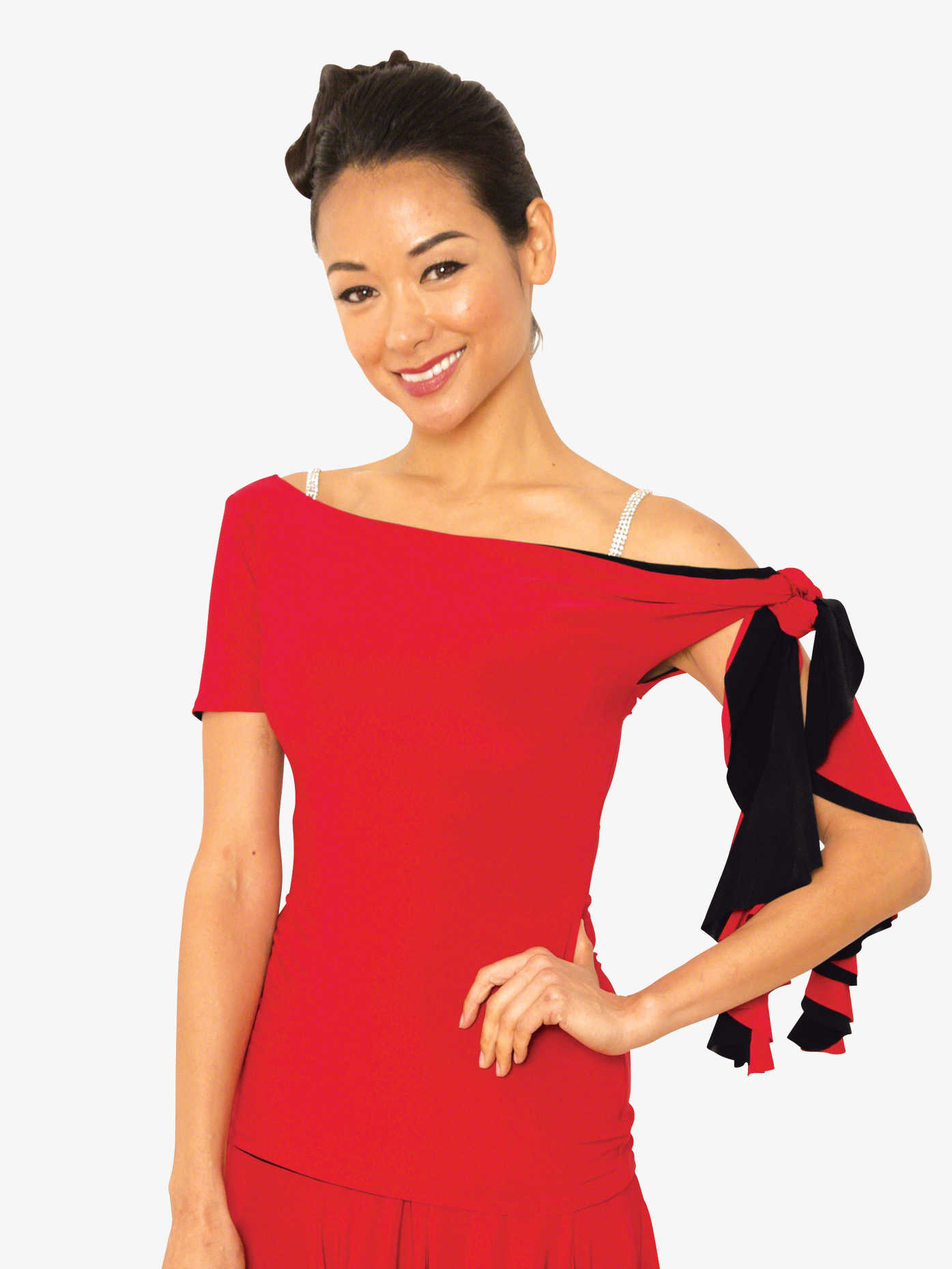 Dance America Womens Reversible Cascade Ballroom Dance Top T825