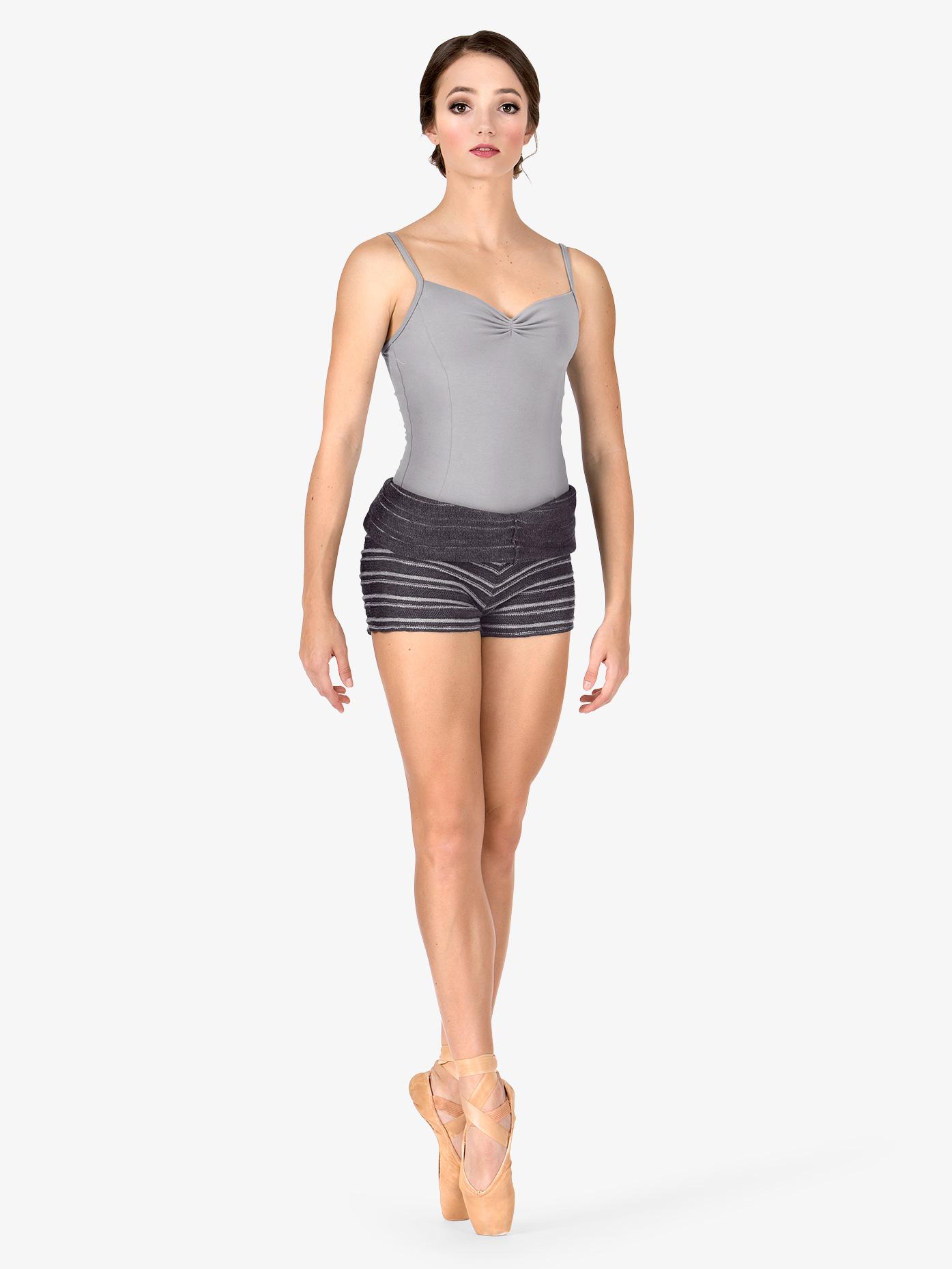 KD Dance Adult Stripe Knit Roll Down Warm Up Shorts AL114157