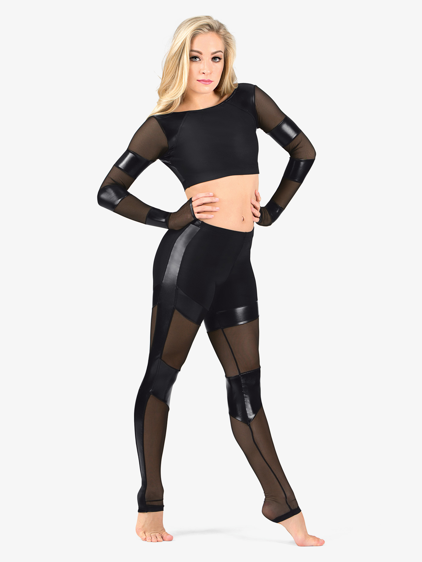 Brian Friedman Performance Adult Pleather and Mesh Leggings BF120
