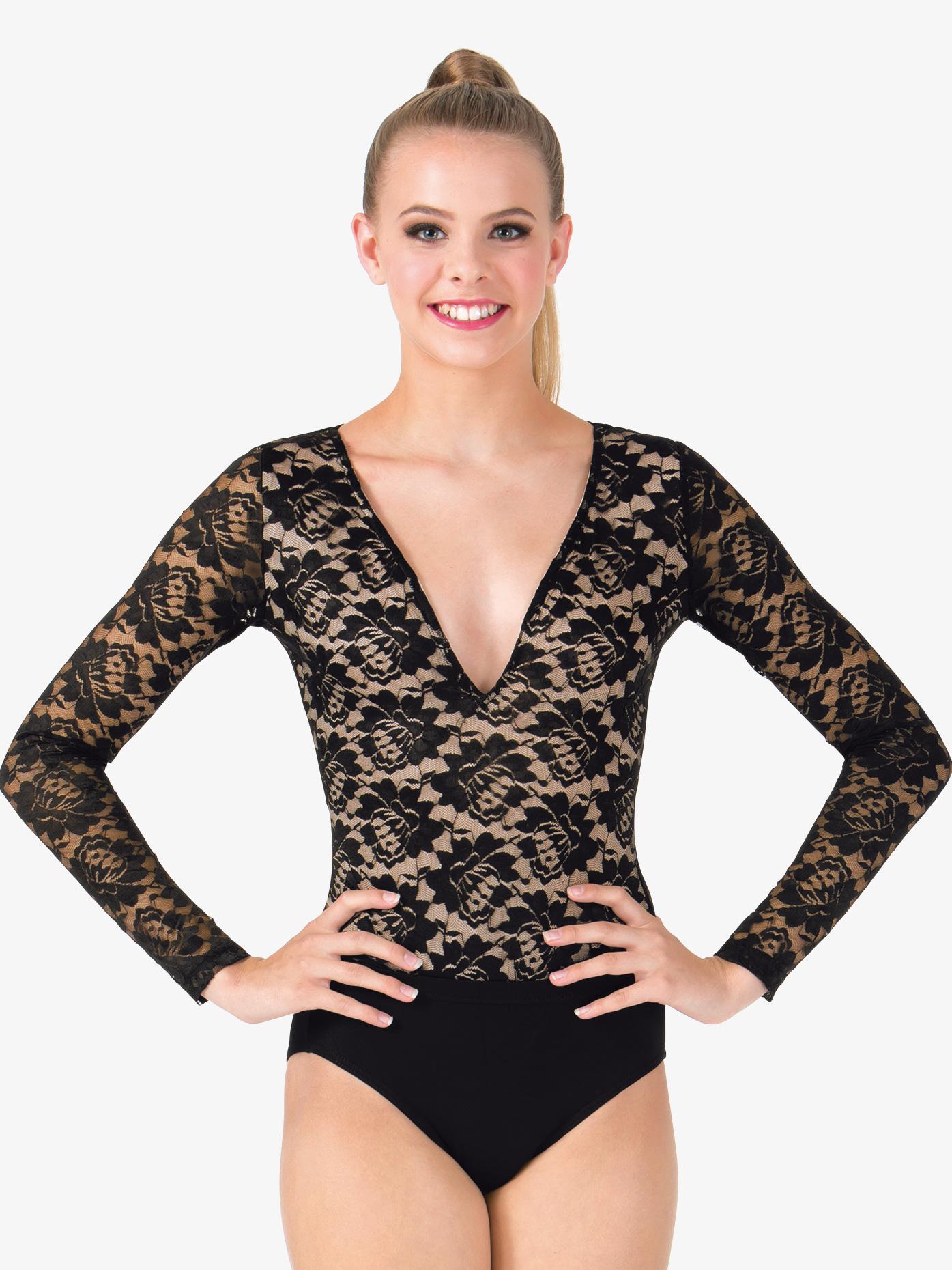 Deep-V Lace Long Sleeve Bodysuit - Leotards ...