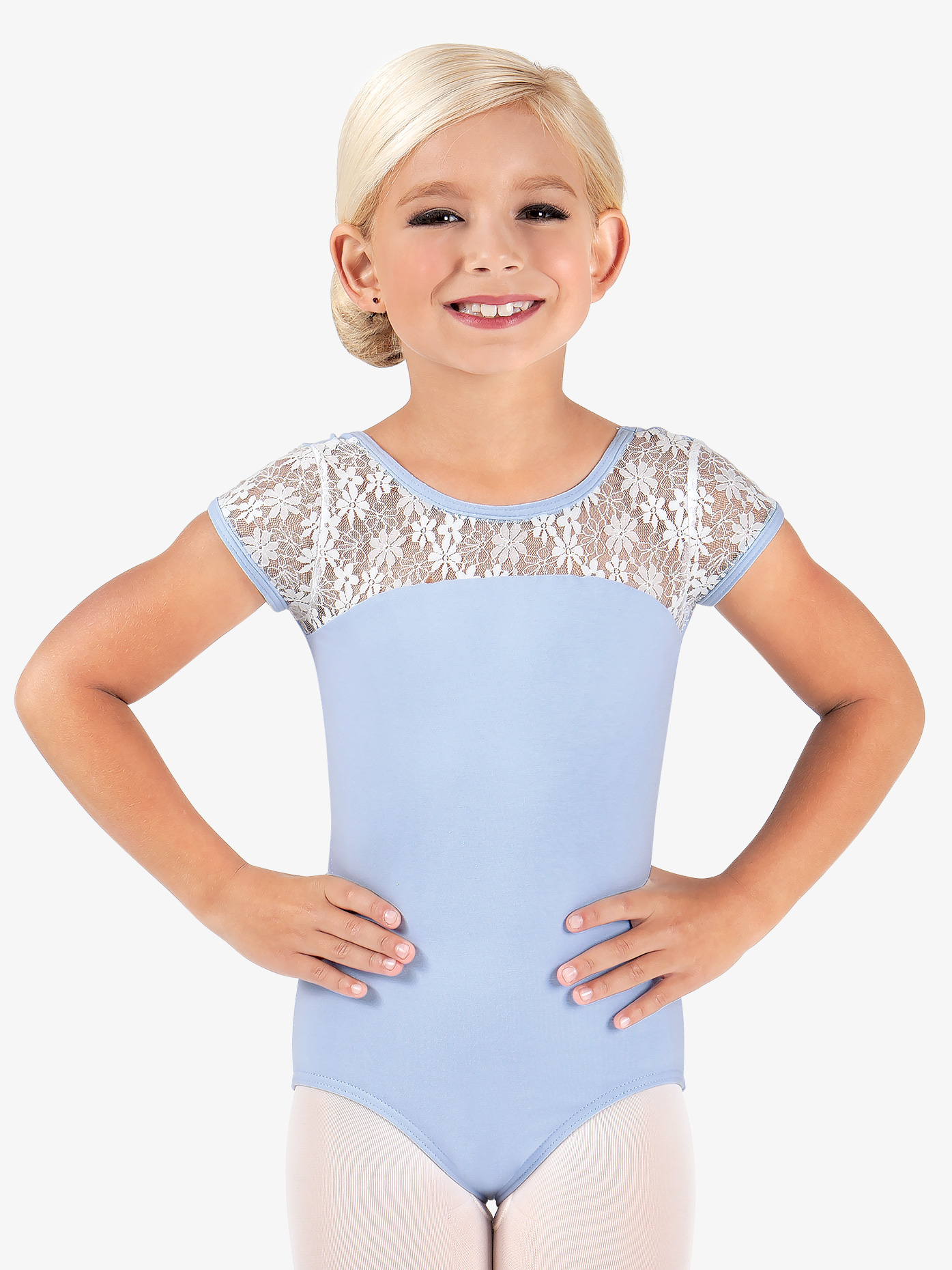 BalTogs Child and Toddler Floral Lace Cap Sleeve Leotard BT5070C