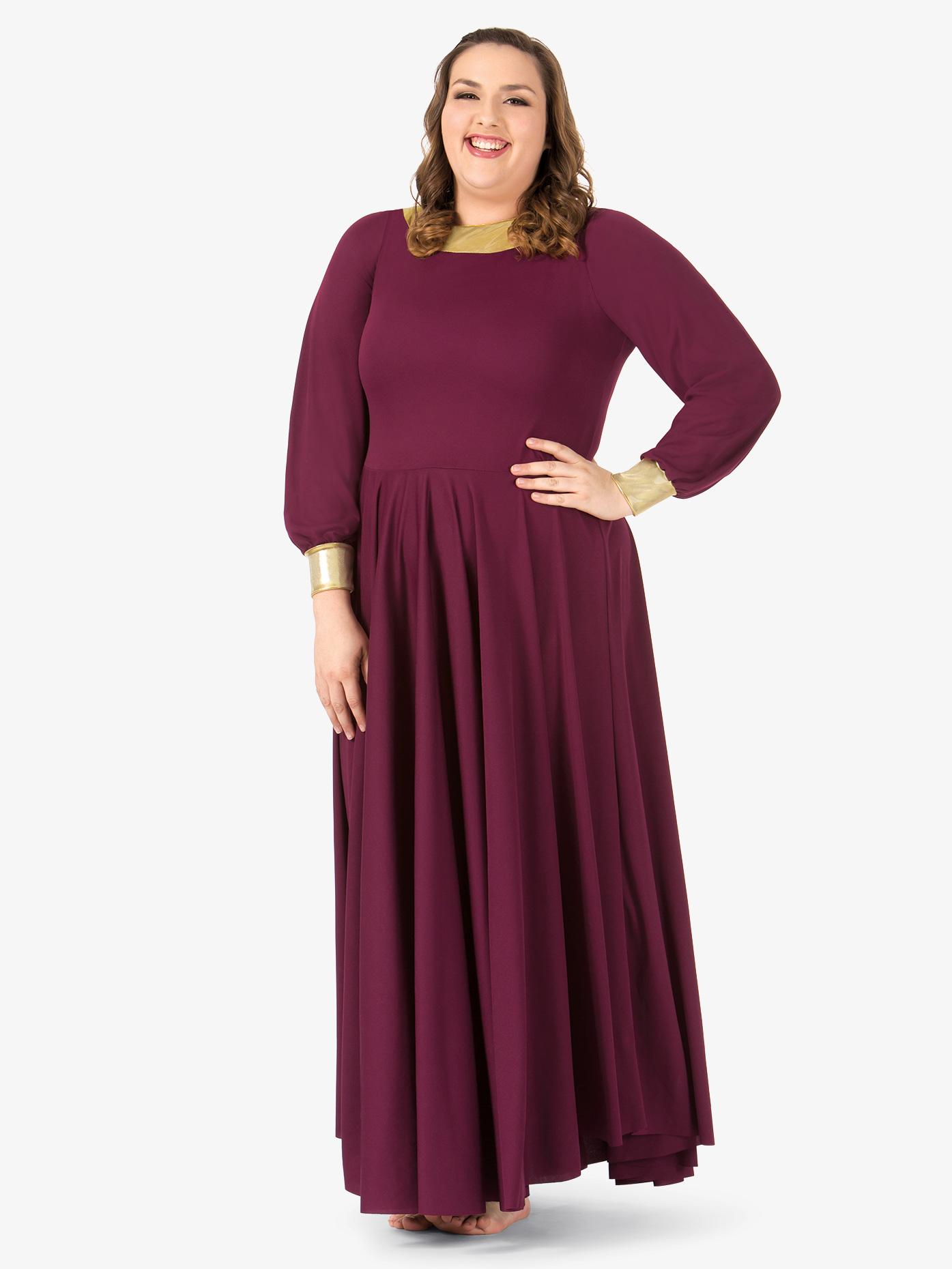 BalTogs Womens Plus Size Metallic Back Worship Dress BT5196P