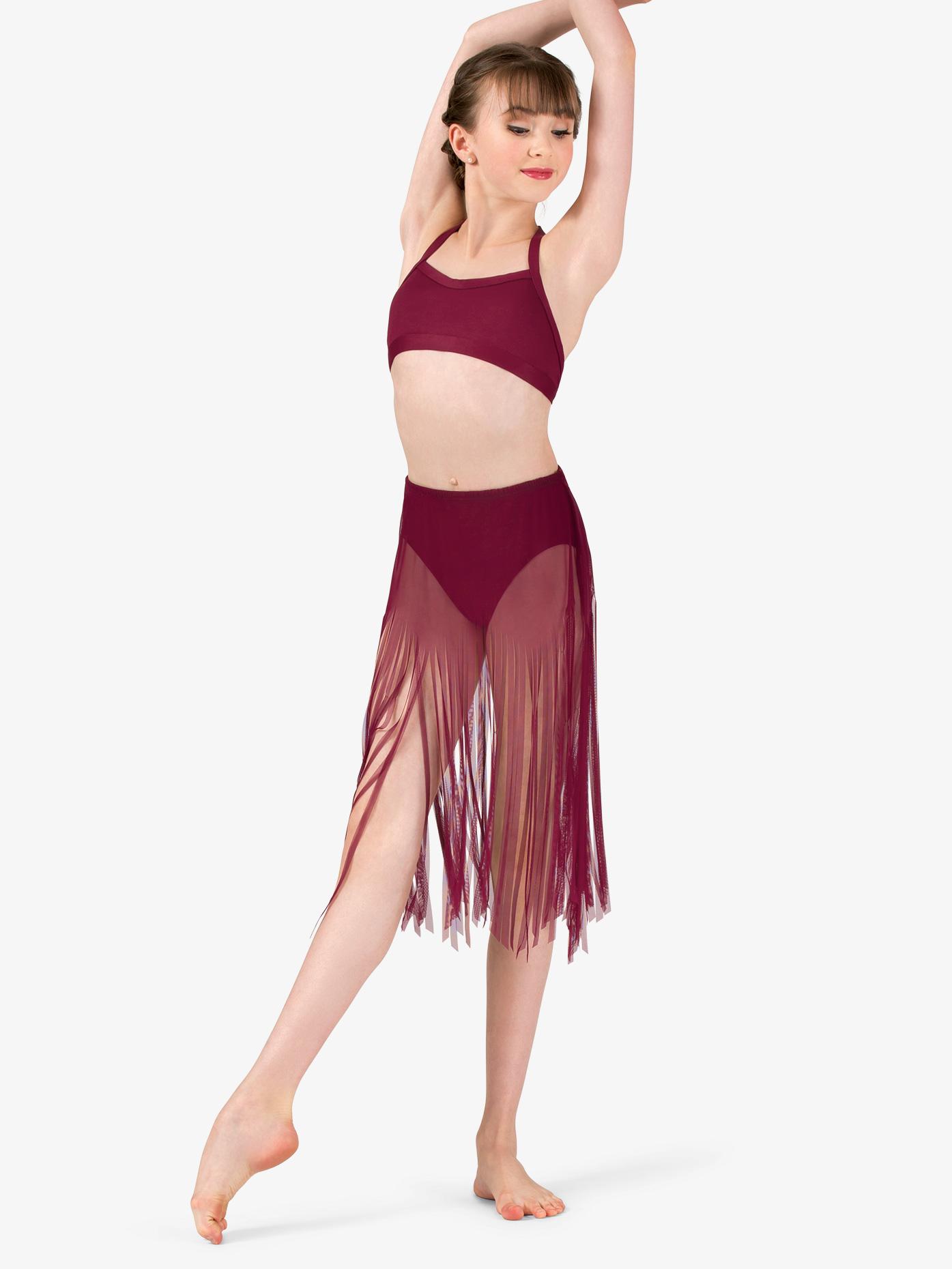 Body Wrappers Girls Performance Sheer Mesh Fringe Skirt BW0811