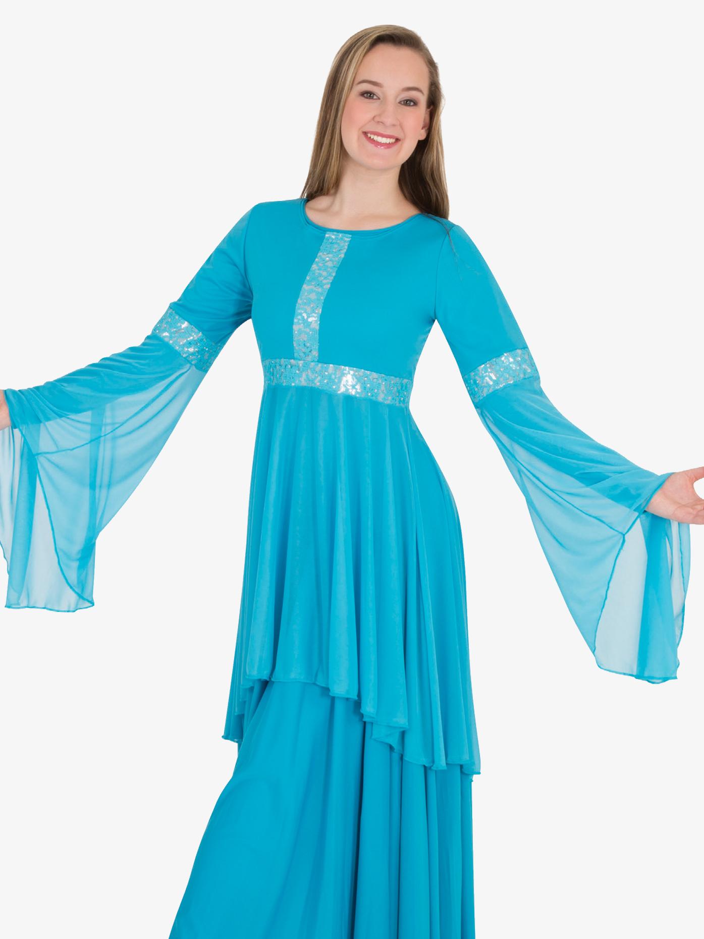 Body Wrappers Womens Lace Insert Drapey Metallic Worship Tunic BW622