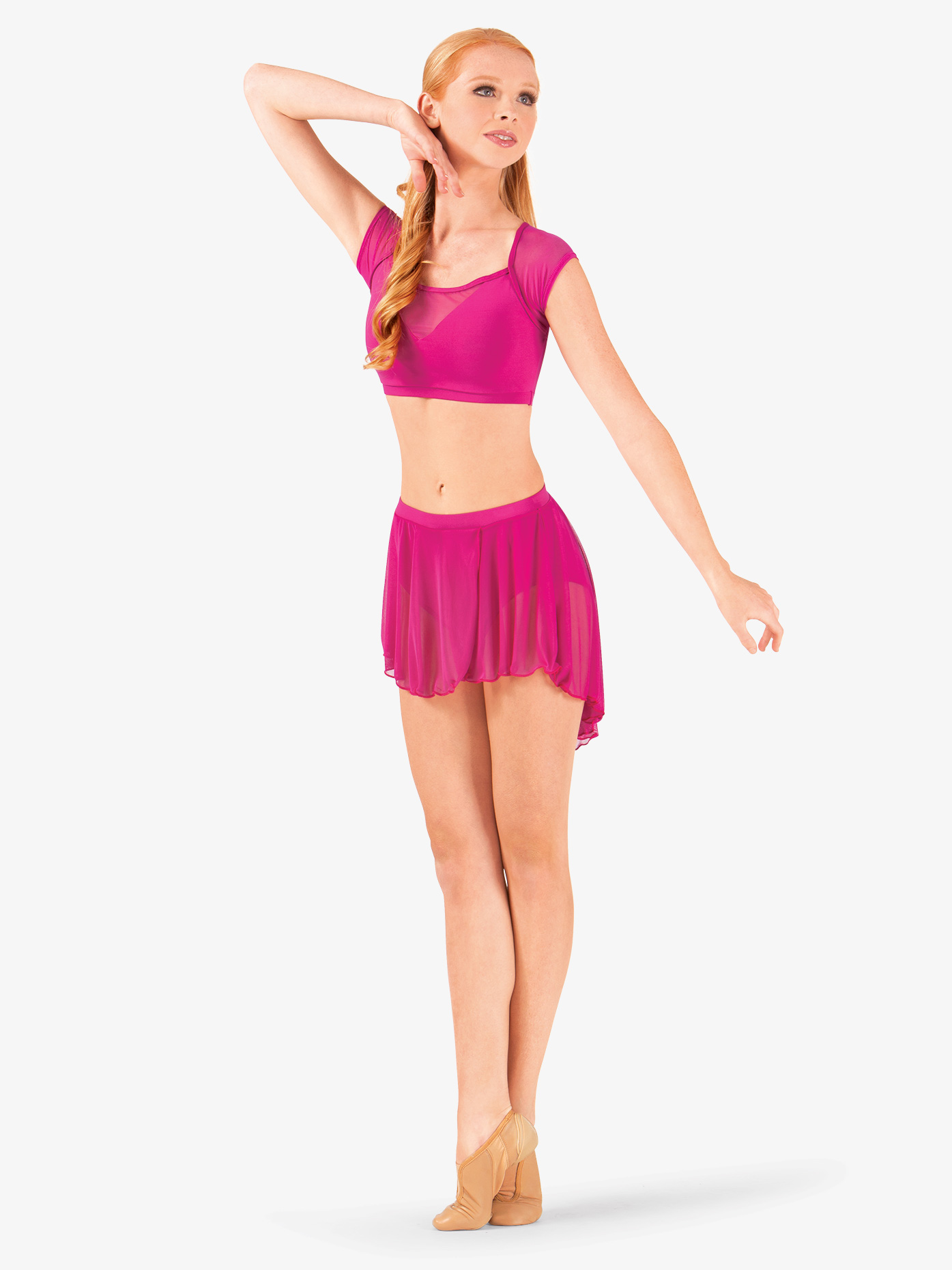 Body Wrappers Adult High-Low Mesh Dance Skirt BW9108