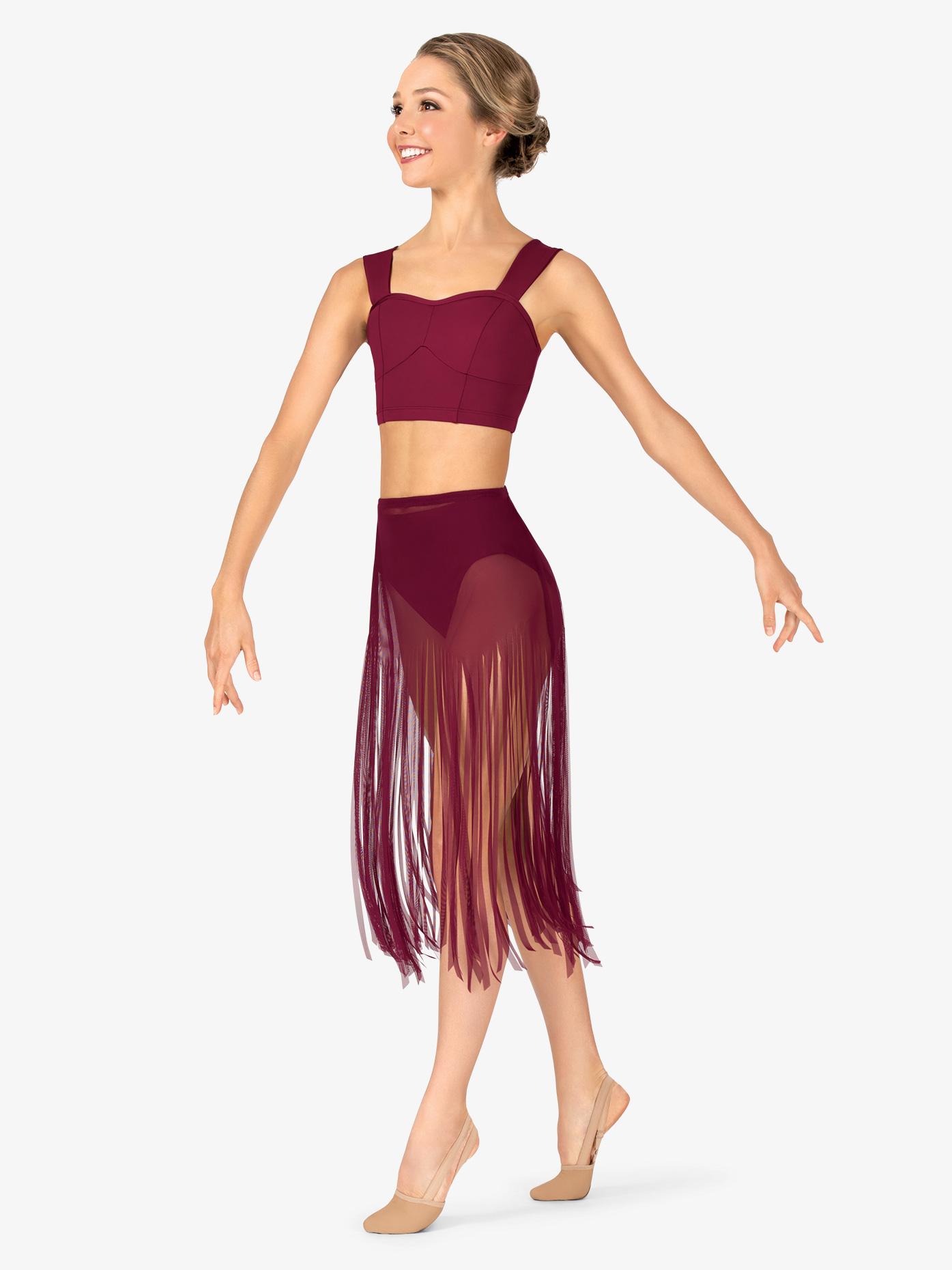 Body Wrappers Womens Performance Sheer Mesh Fringe Skirt BW9811