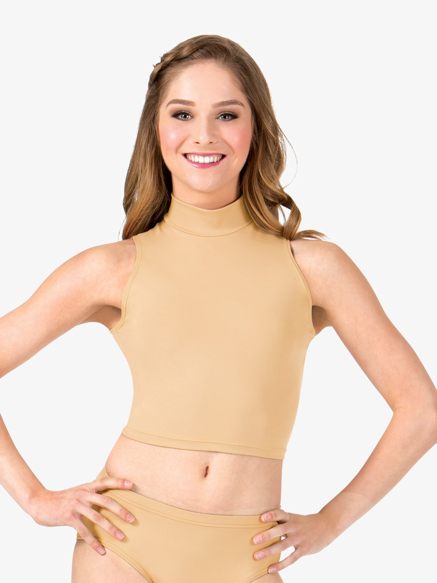Body Wrappers Adult Basic Mock Neck Tank Crop Top BWP263