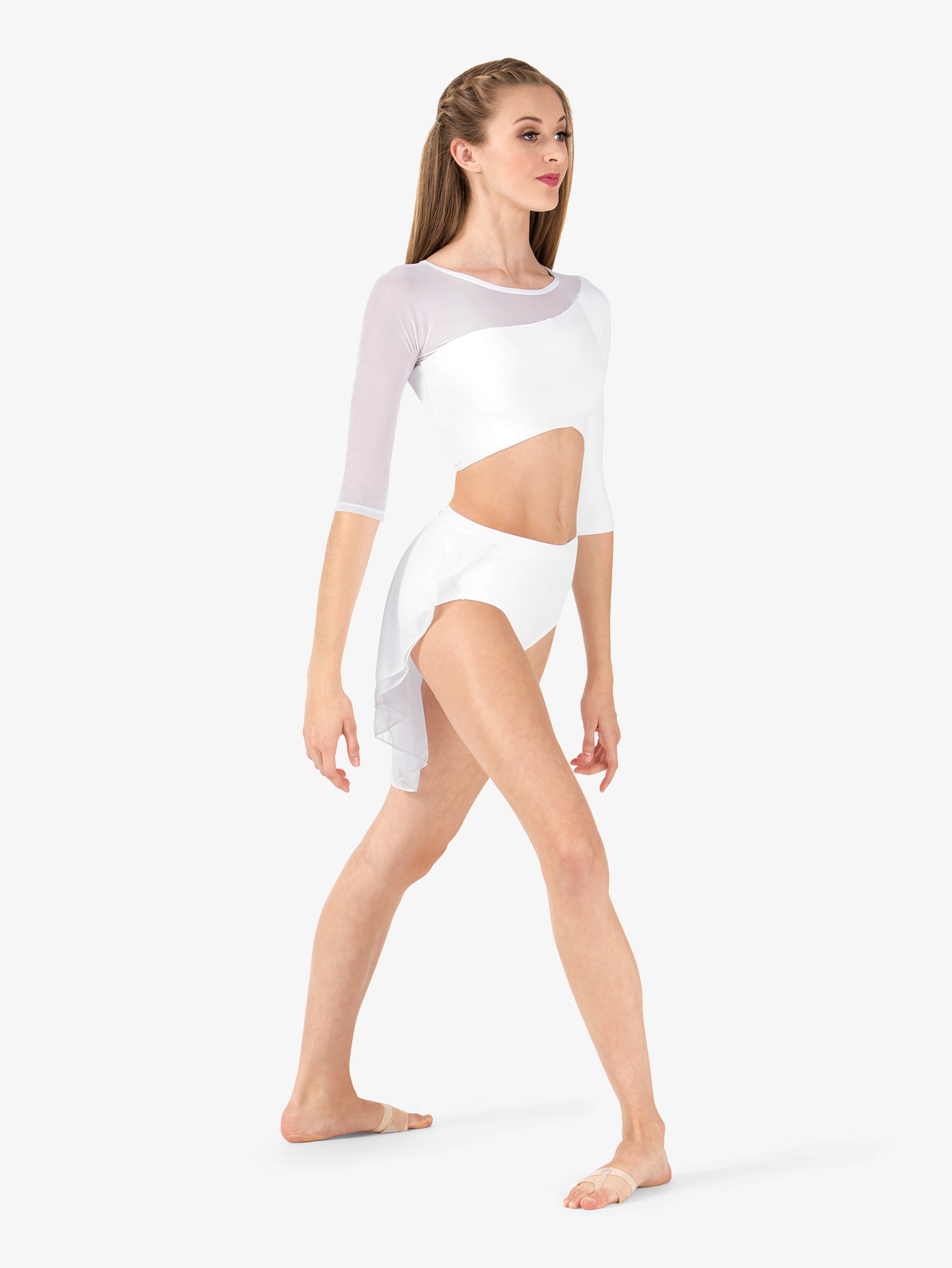 de7a1f535f6c8 3 4 Sleeve Asymmetrical Dance Crop Top - Crop Tops