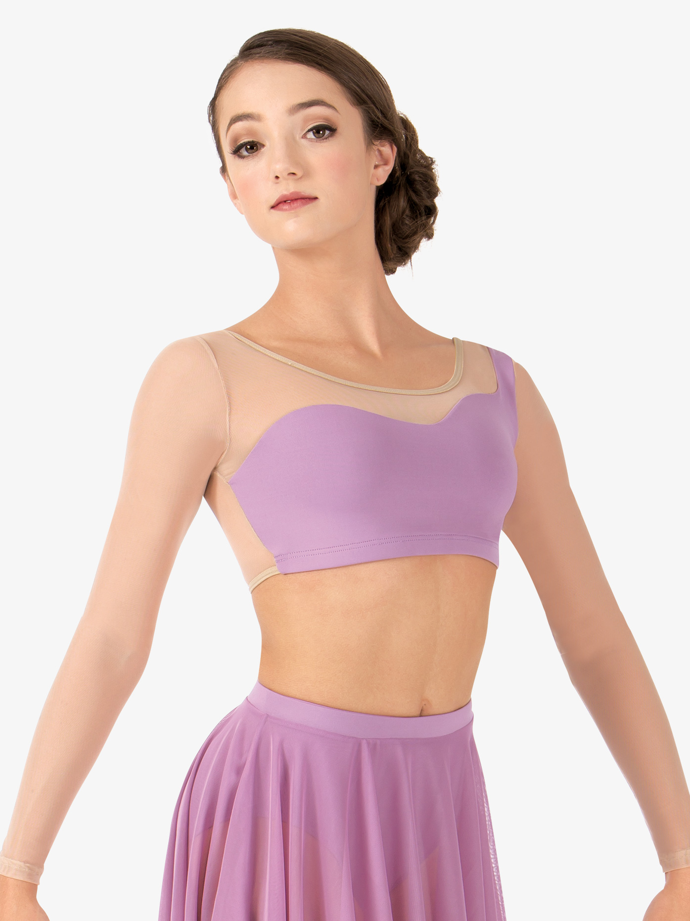 Body Wrappers Adult Asymmetrical Long Sleeve Dance Crop Top BWP9029