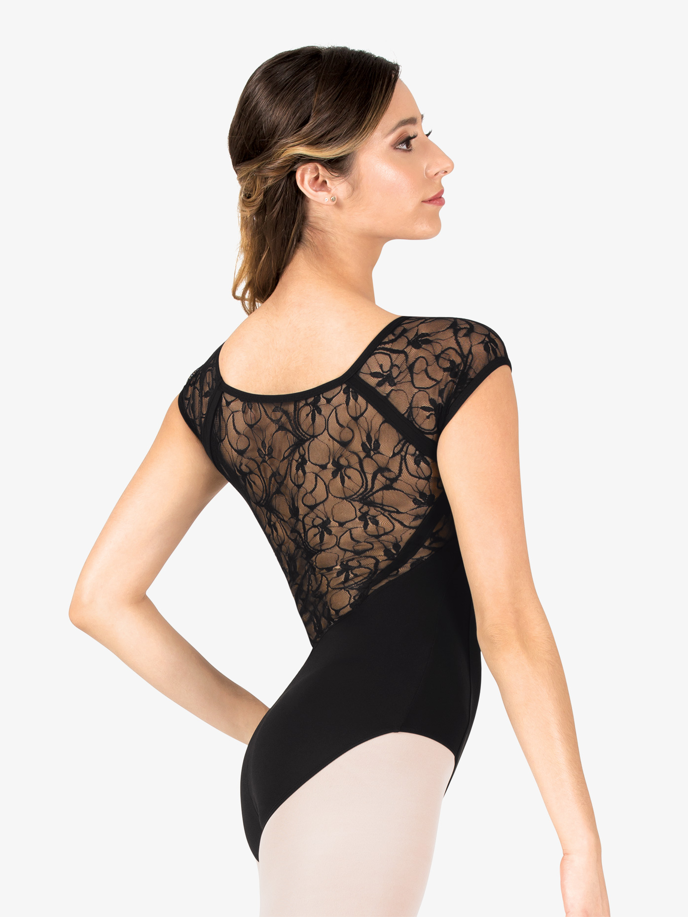 Danznmotion Womens Swirl Lace V-Front Cap Sleeve Leotard D2737A