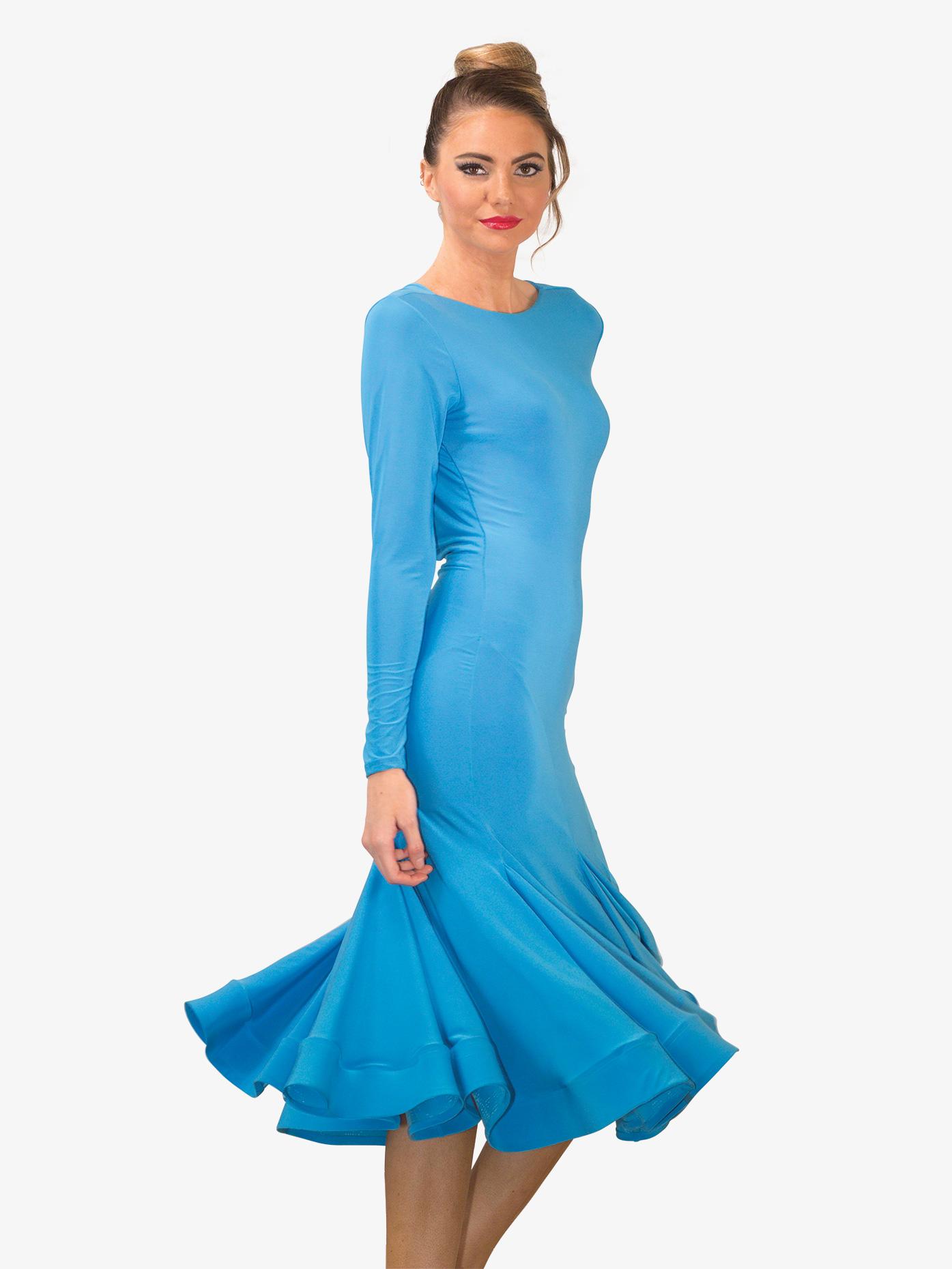 Dance America Womens Draped Back Midi Ballroom Dress D709