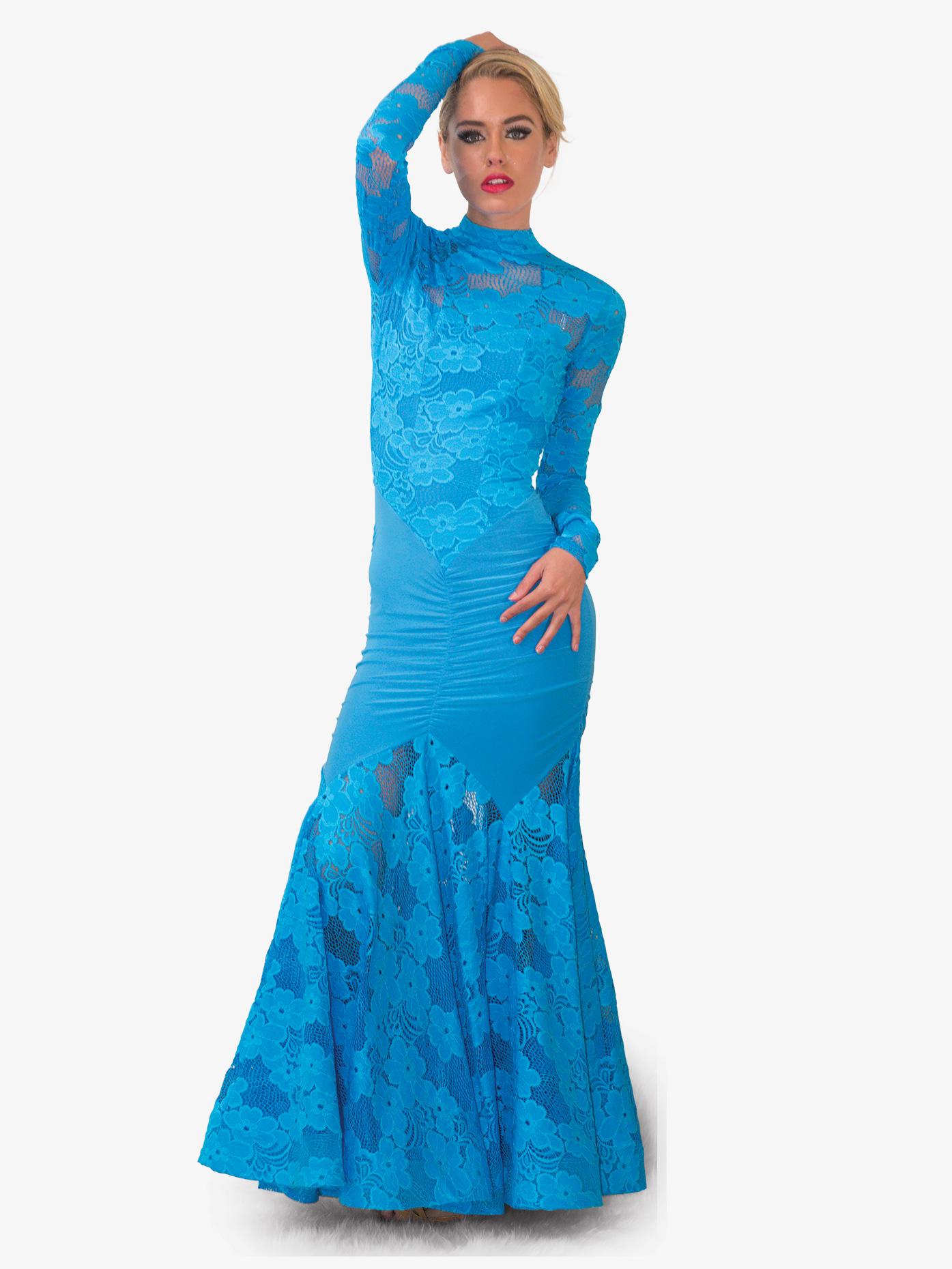 Dance America Womens Angelica Floral Lace Long Ballroom Dress D710
