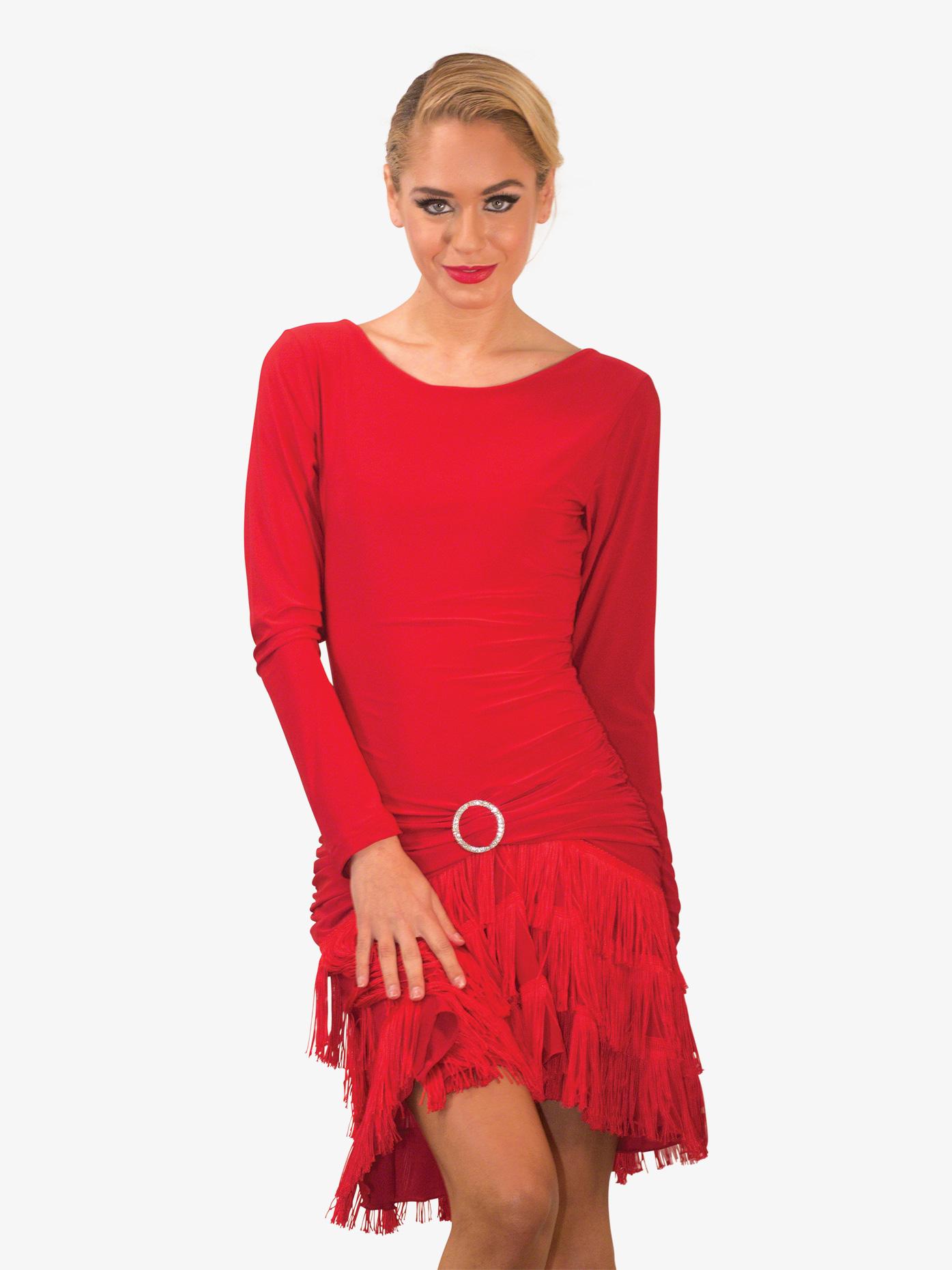 Dance America Womens Long Sleeve Fringe Ballroom Dress D712