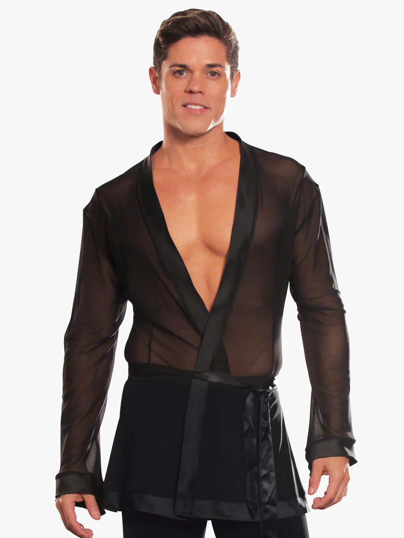 Dance America Mens Mesh Wrap Ballroom Top DMS18