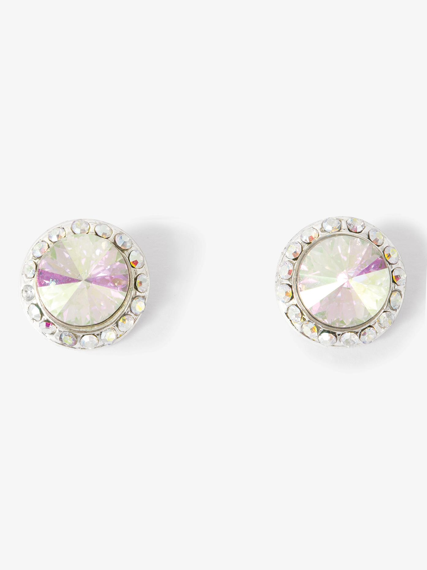 Go Girl 10mm Clip On Iridescent Stone Earrings EC8AI