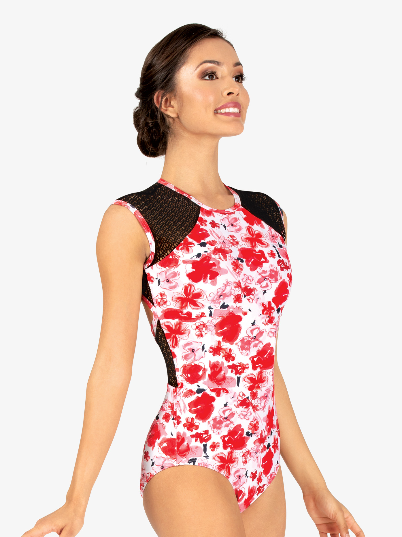 37cbf0542 Womens Floral Mesh Cap Sleeve Leotard - Style No ELA19. Loading zoom