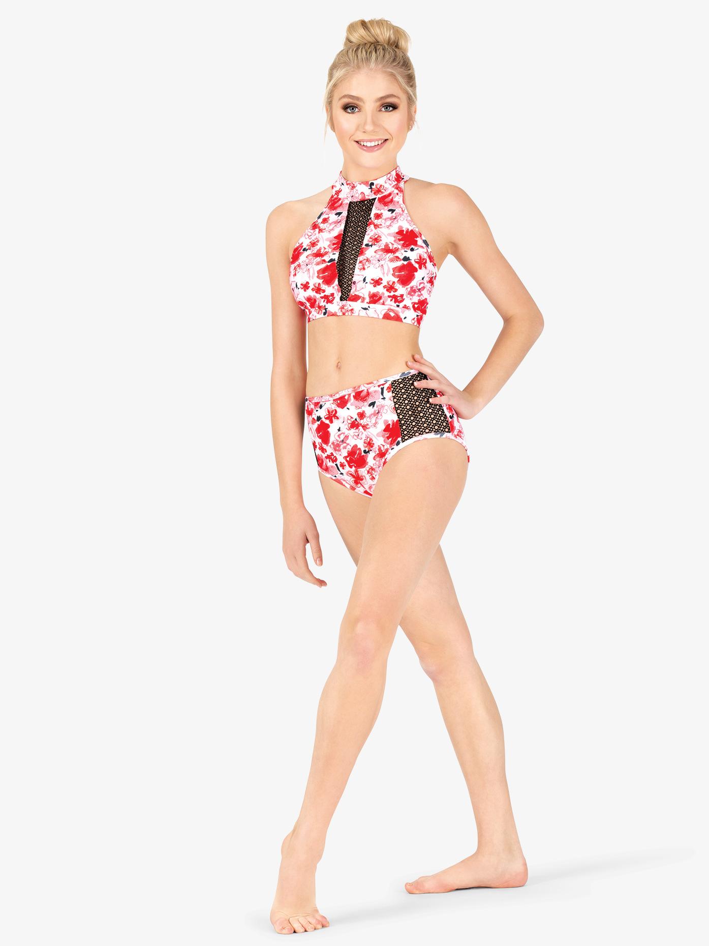 131ae3a84f90 Floral Mesh Dance Briefs - Shorts | Ella ELA22 | DiscountDance.com