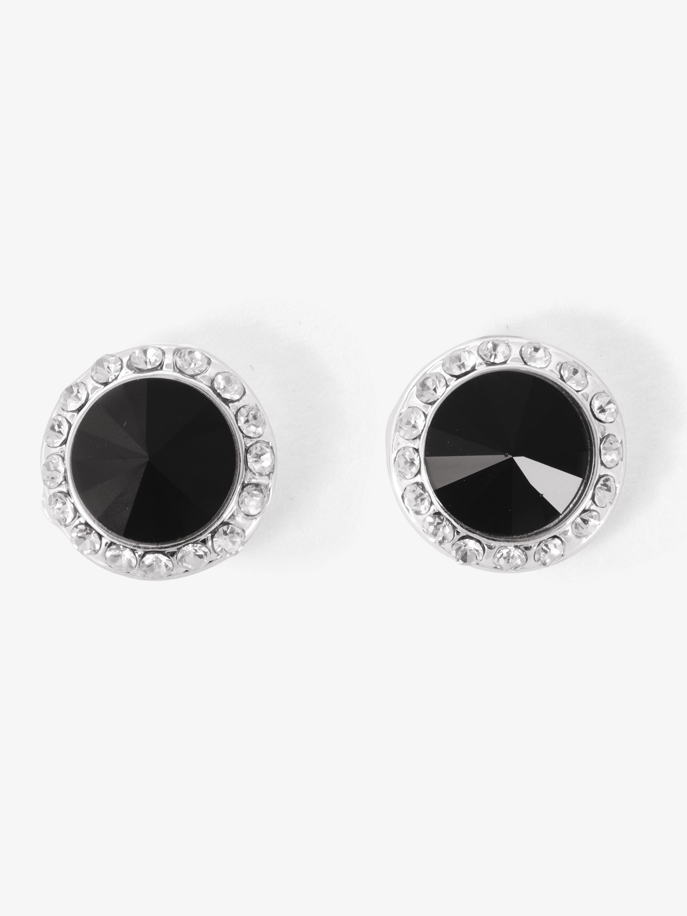 silver property marked back earrings stone l sterling bezel room set black solid hook