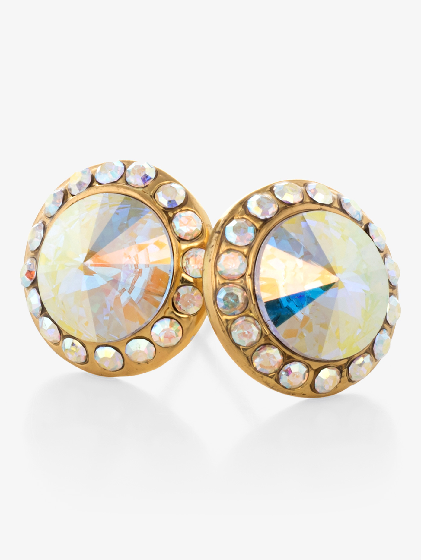 Go Girl 10mm Gold-Plated Post Iridescent Rhinestone Earrings EP8G