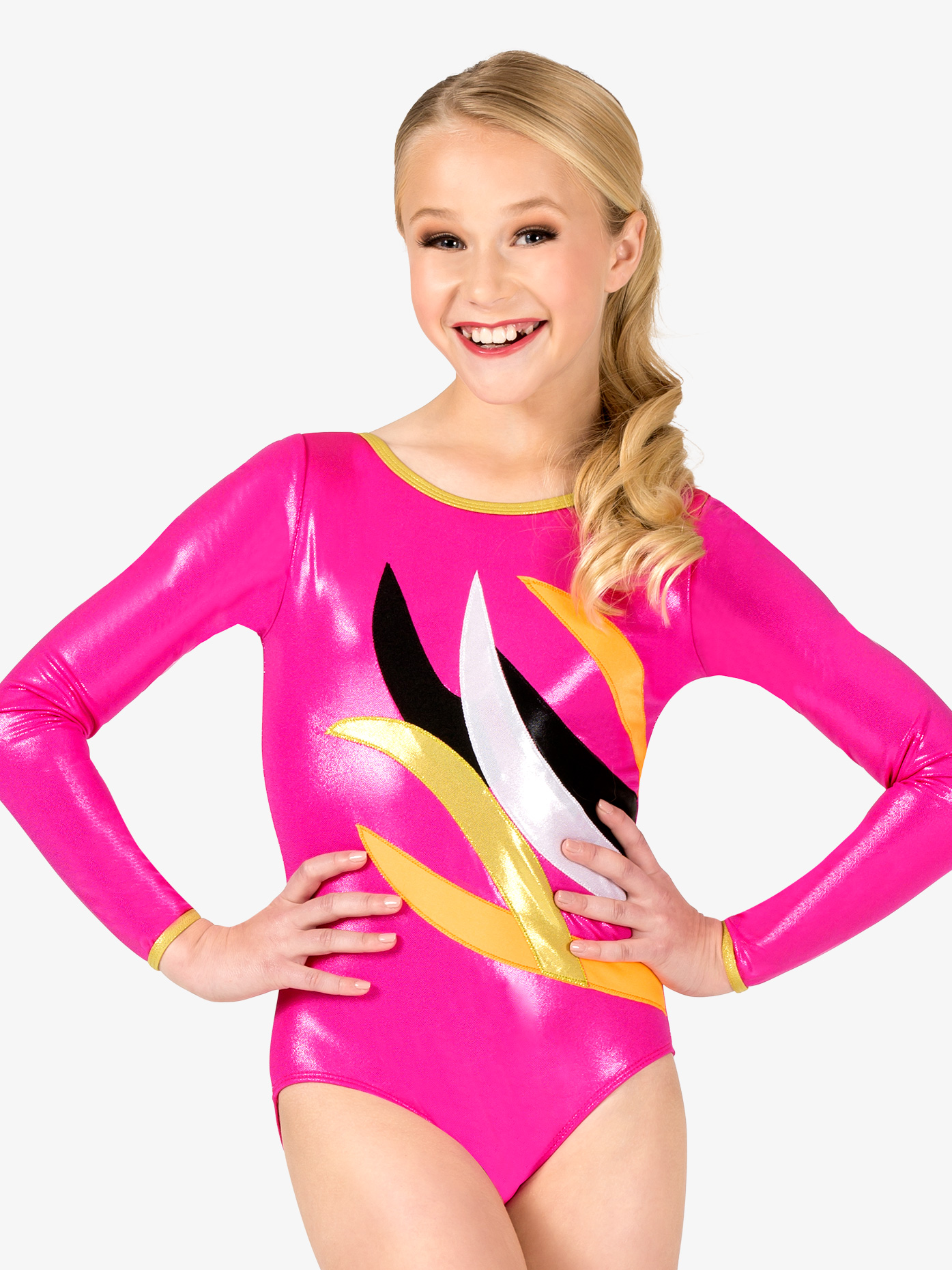 Perfect Balance Girls Gymnastics Contrast Spliced Long Sleeve Leotard G675C