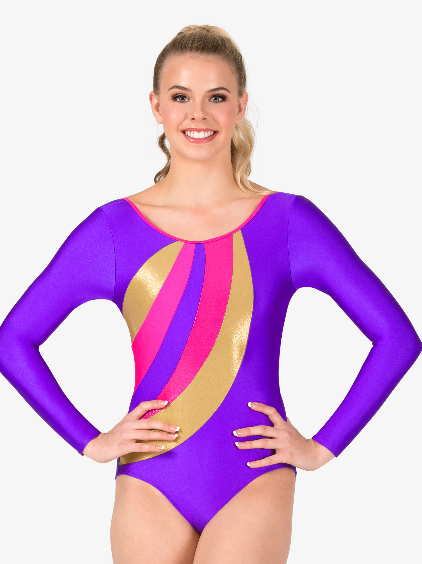 Perfect Balance Womens Gymnastics Spliced Print Long Sleeve Leotard G677