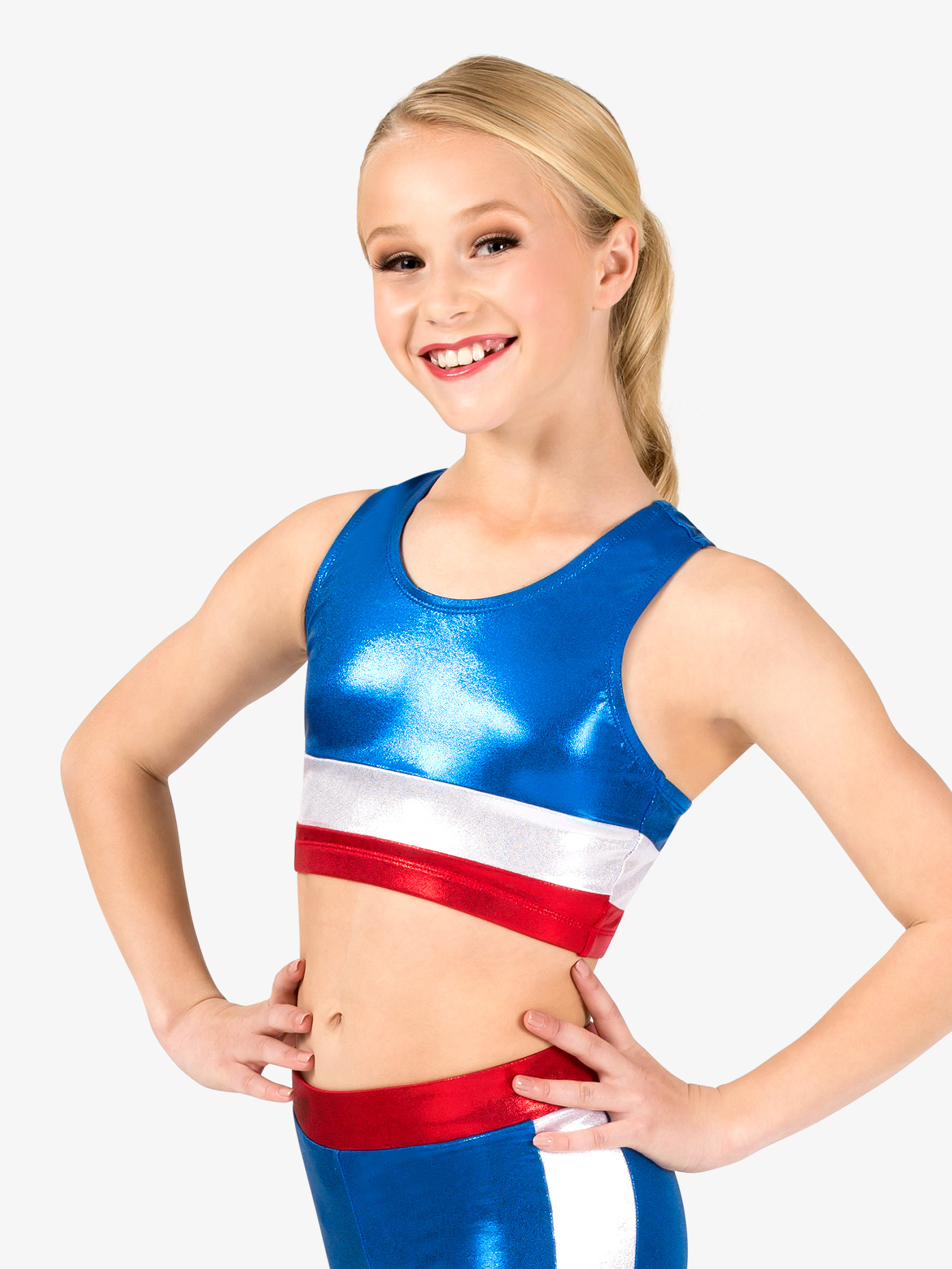 Perfect Balance Girls Gymnastics Patriotic Print Tank Bra Top G687C