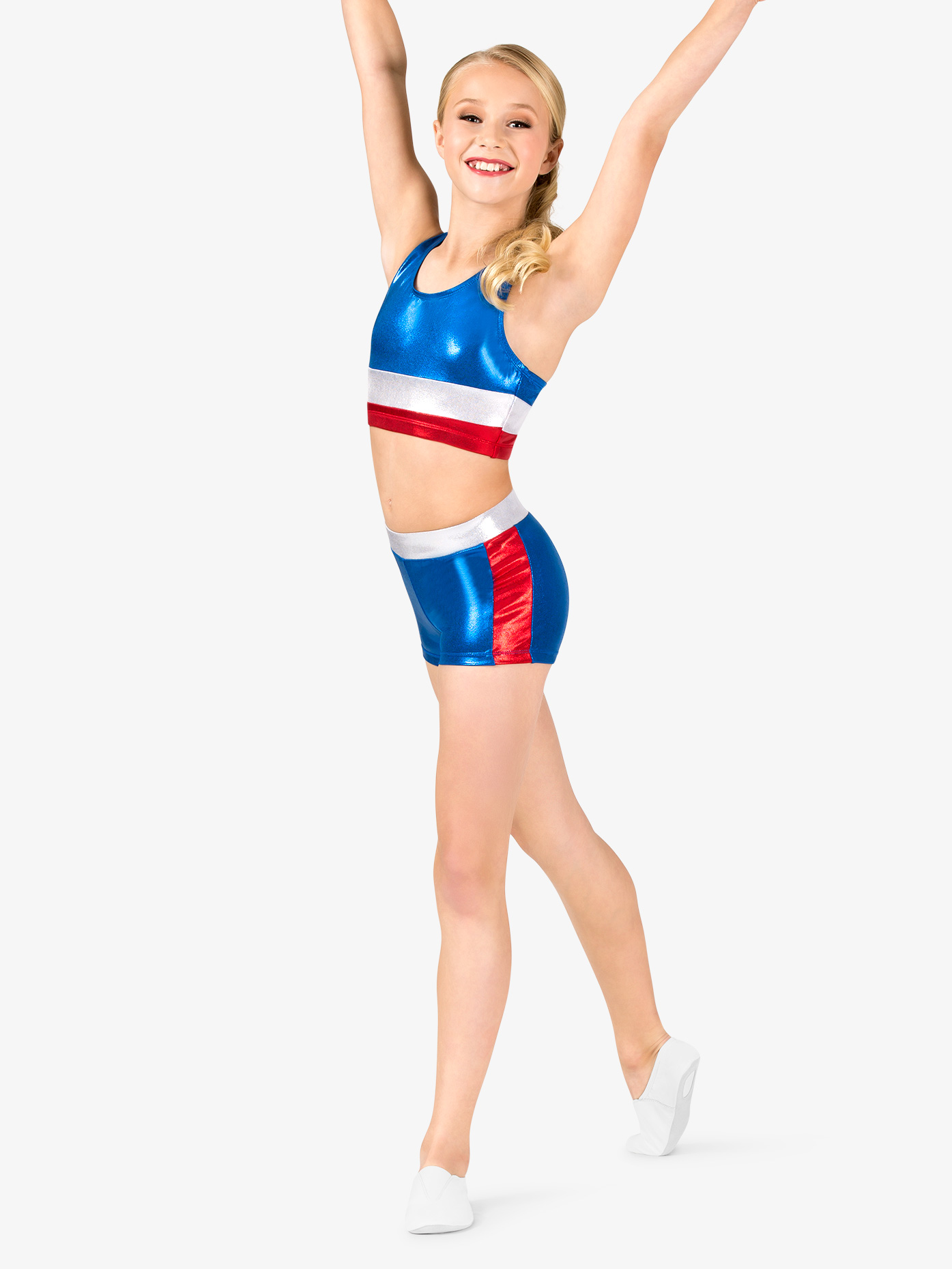 Perfect Balance Girls Gymnastics Patriotic Print Shorts G688C