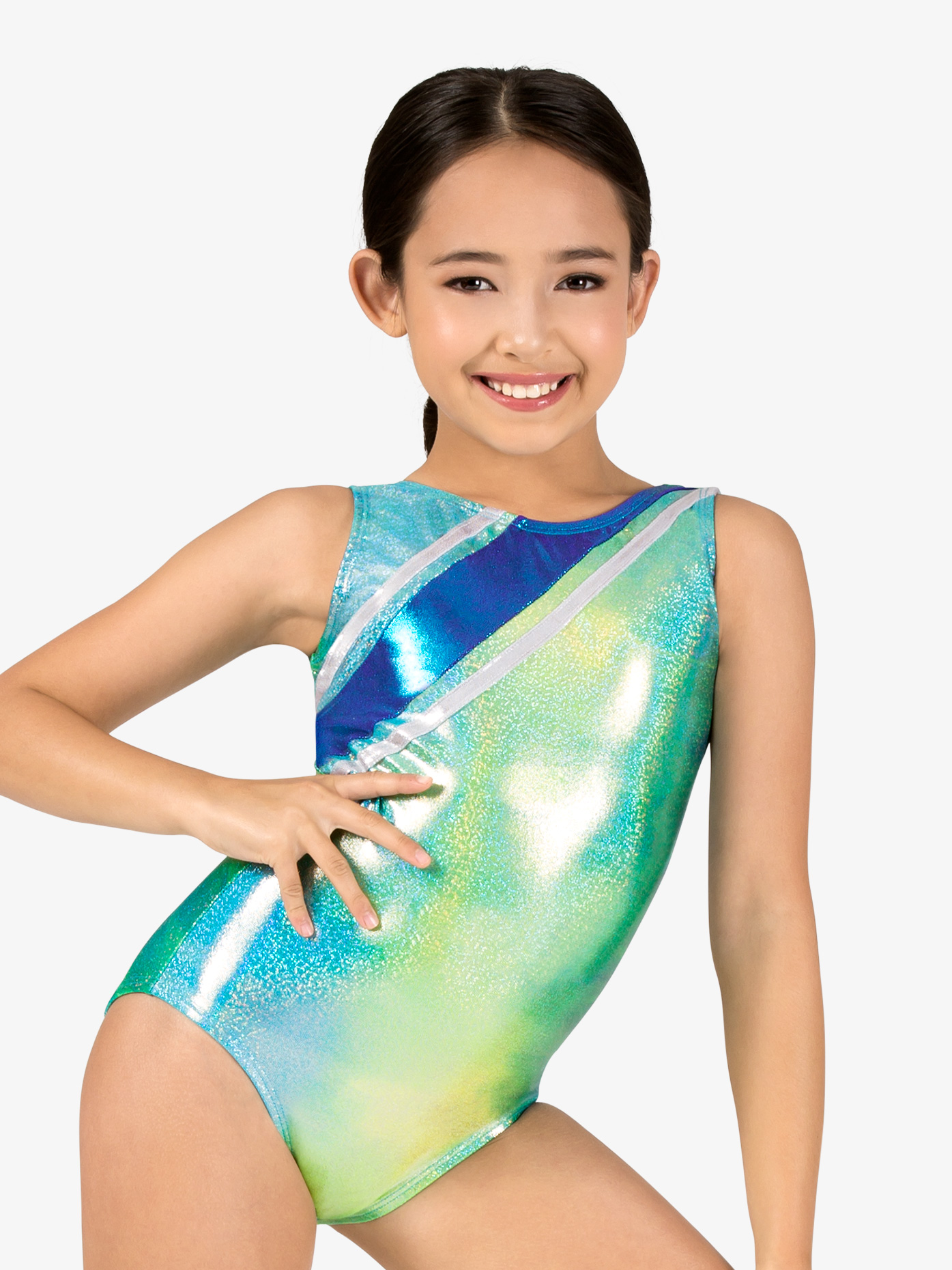 Perfect Balance Girls Gymnastics Glitter Print Strappy Back Tank Leotard G720C