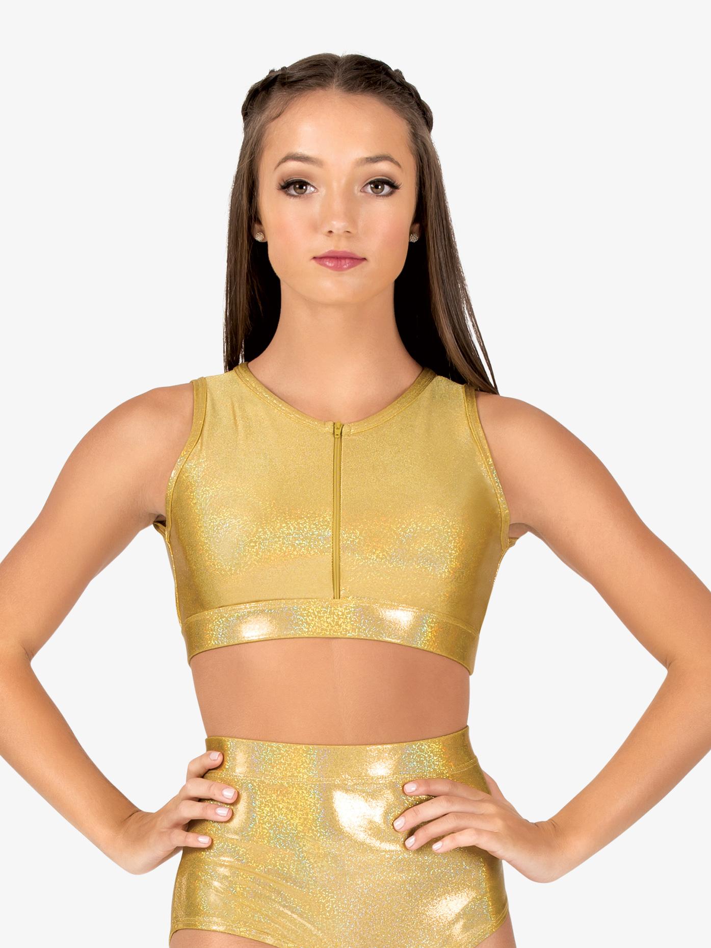 Ingenue Womens Iridescent Performance Zip Front Bra Top ING123