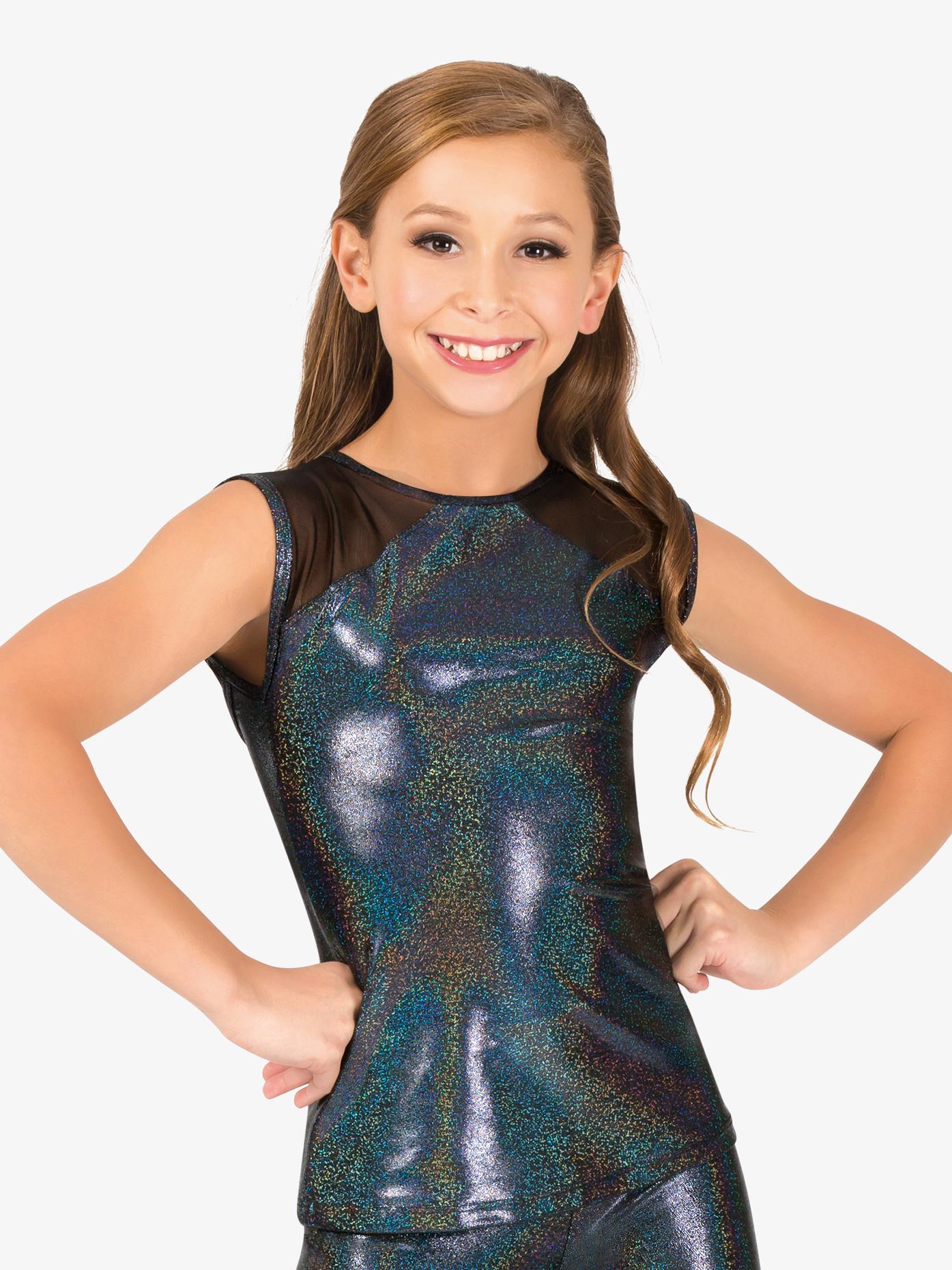 Ingenue Girls Iridescent Performance Mesh Cap Sleeve Top ING129C
