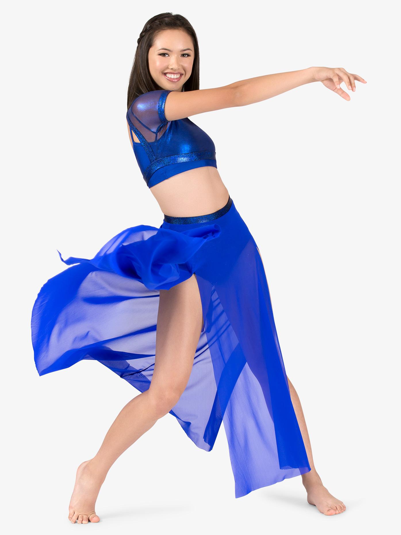 Ingenue Womens Mesh Side Slit Performance Skirt ING137